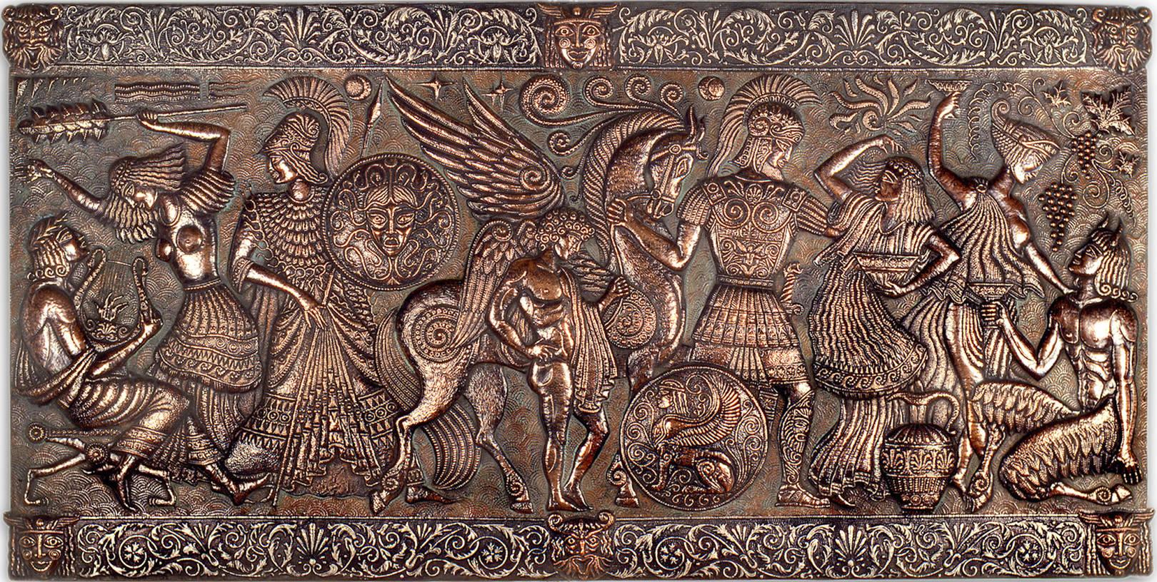 Эллада мифологическая (панно) 1978 г. Медь, алюминий; чернение, патинирование 78 х 152 см