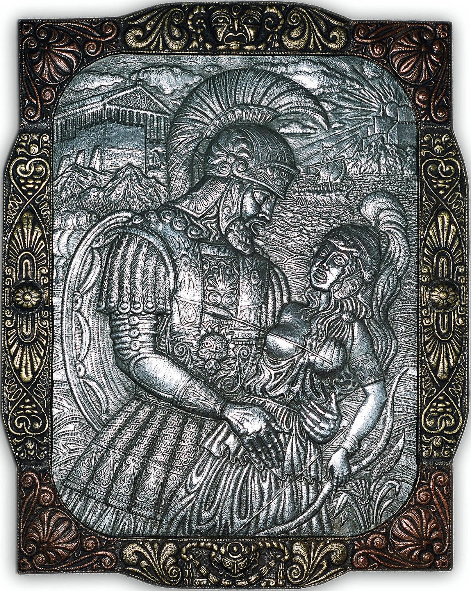 Раненая амазонка   2002 г. (панно)                                                                                                                Алюминий, медь, латунь; чернение. 96х78 см