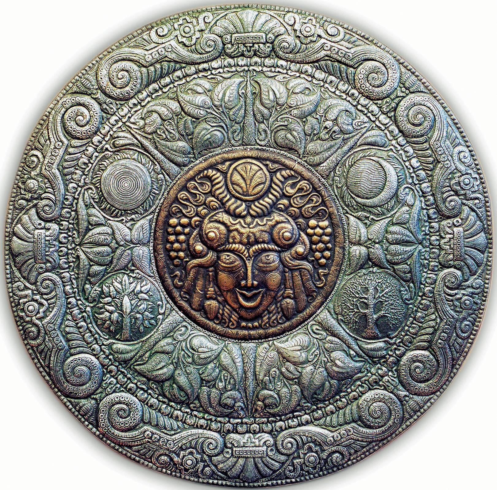 Кибела (панно) 1998 г. Алюминий, медь; чернение 80 х 80 см