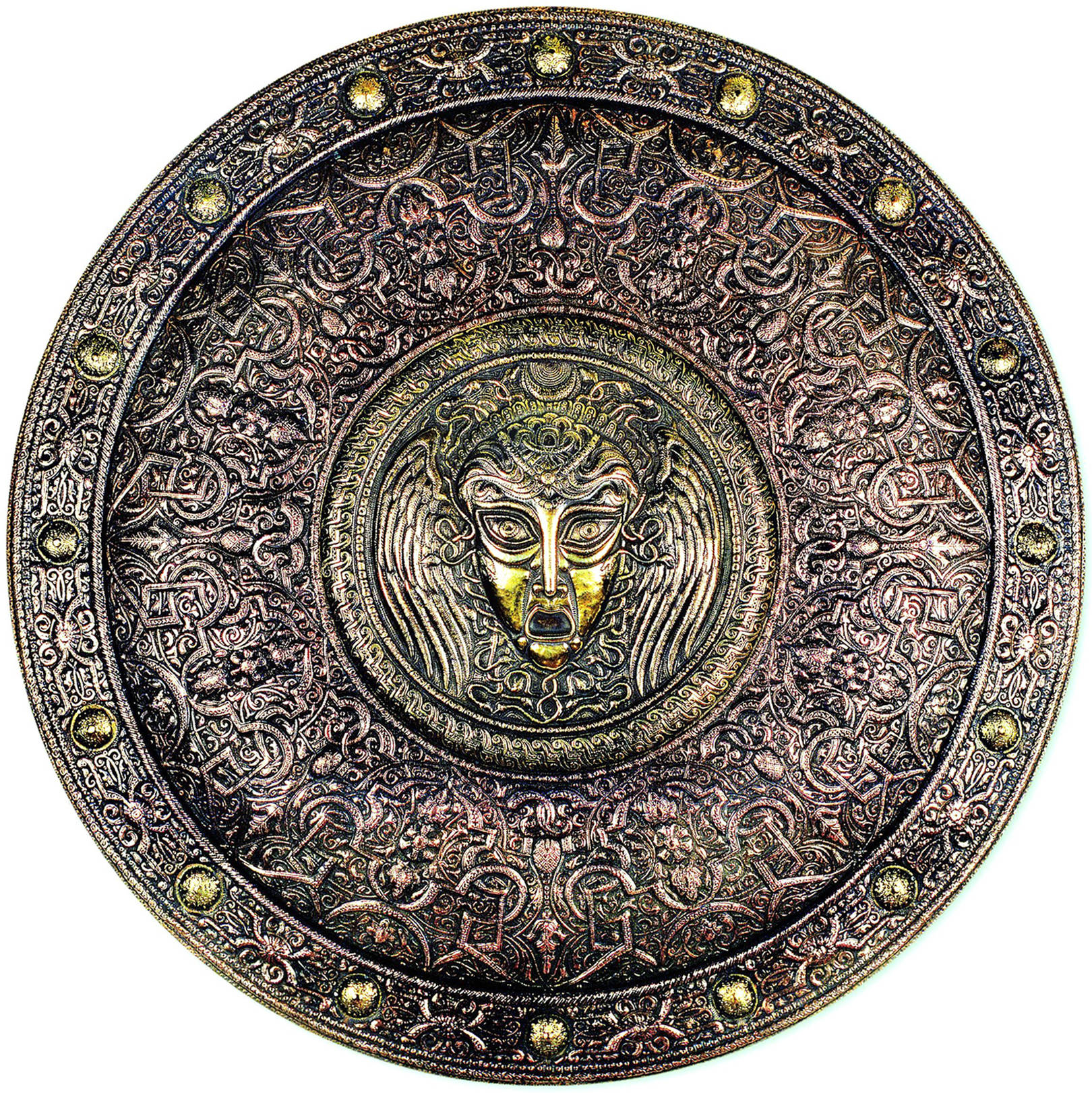 Медуза Горгона (панно-рондо) 1993 г. Латунь, медь; чернение 61 х 61 см