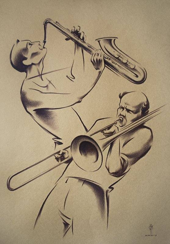 """JAZZ-2""  paper,sepia  49x34  2014"