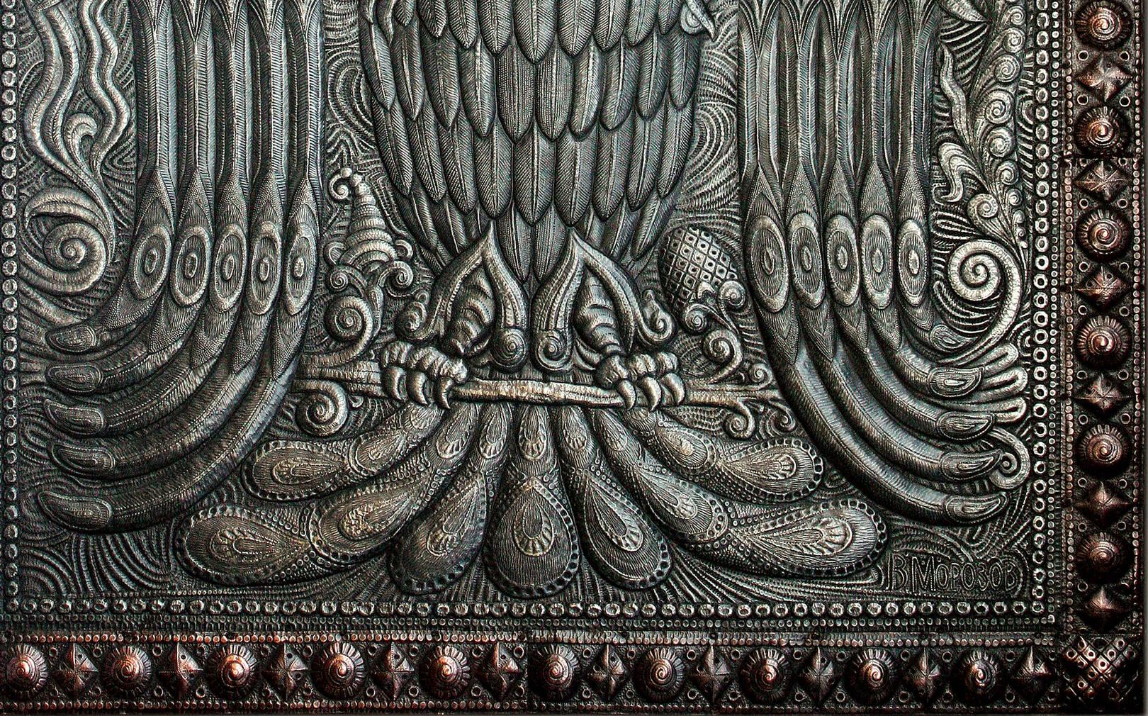 Триглава (фрагмент панно) 2013 г. Алюминий, медь; чернение  91 х 71 см