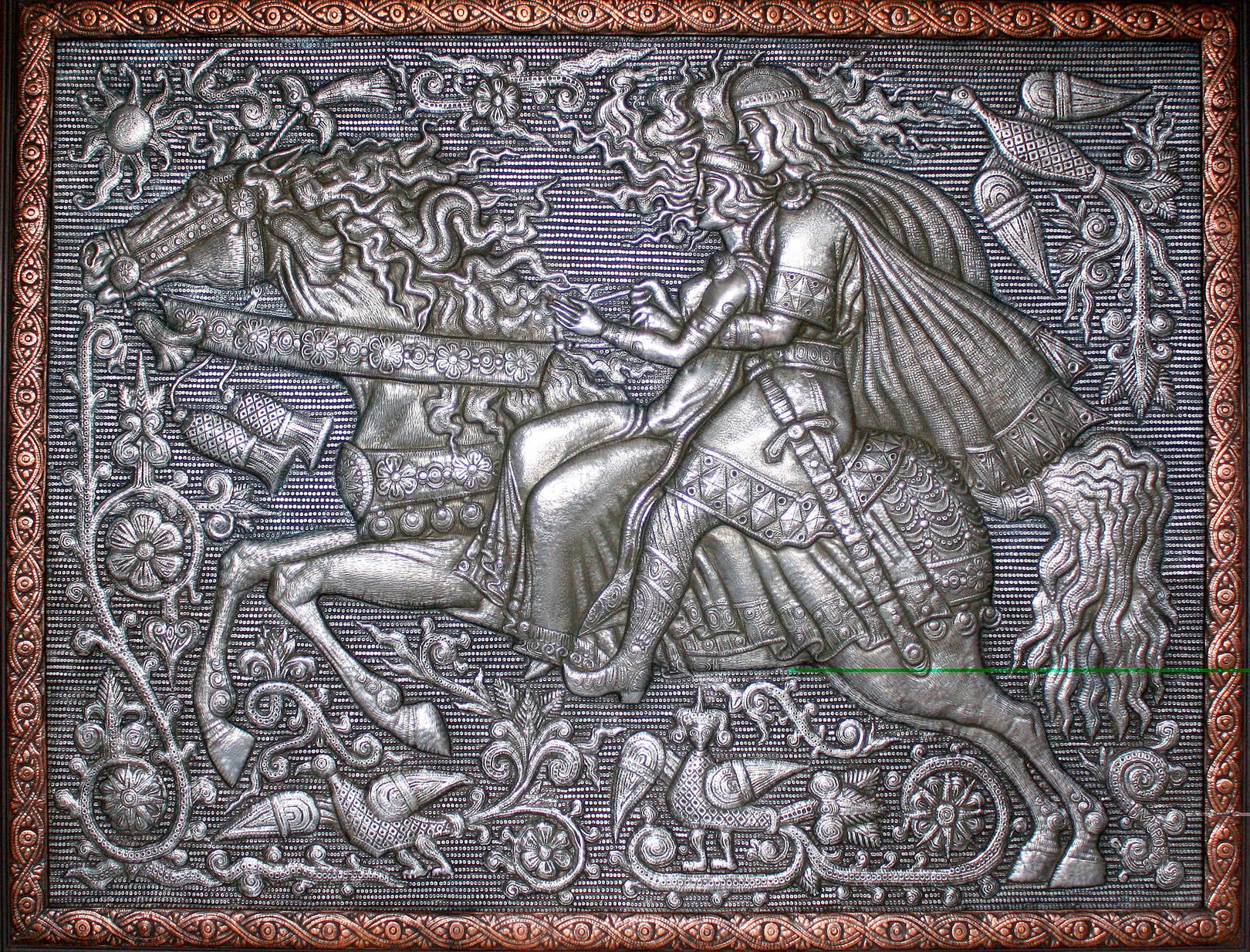 Конная прогулка (панно) 2005 г. Алюминий, медь; чернение 73 х93 см