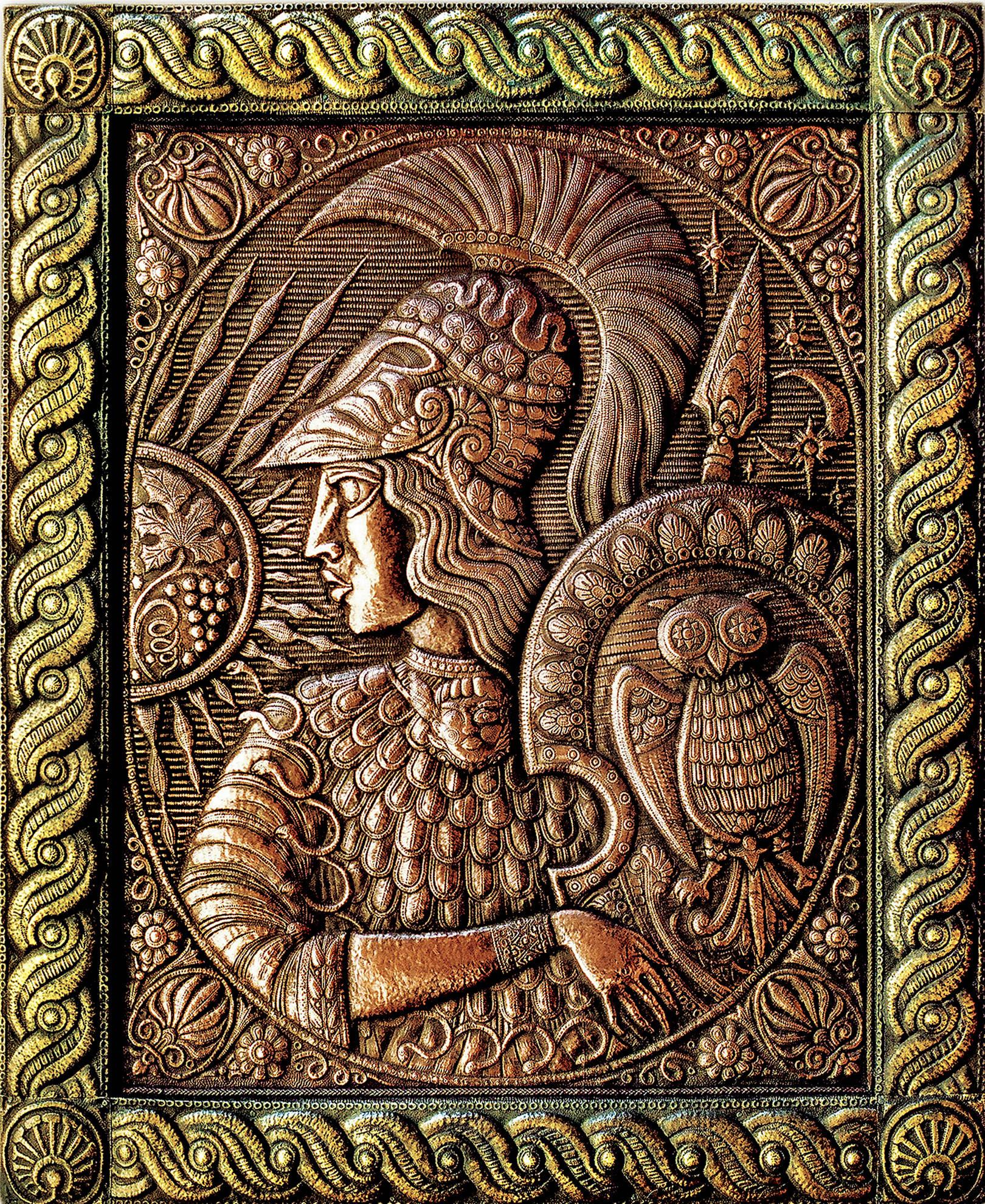 """Афина (панно из триптиха """"Великие богини) 1997 г. Медь, латунь; чернение. 90 х 70 см"""