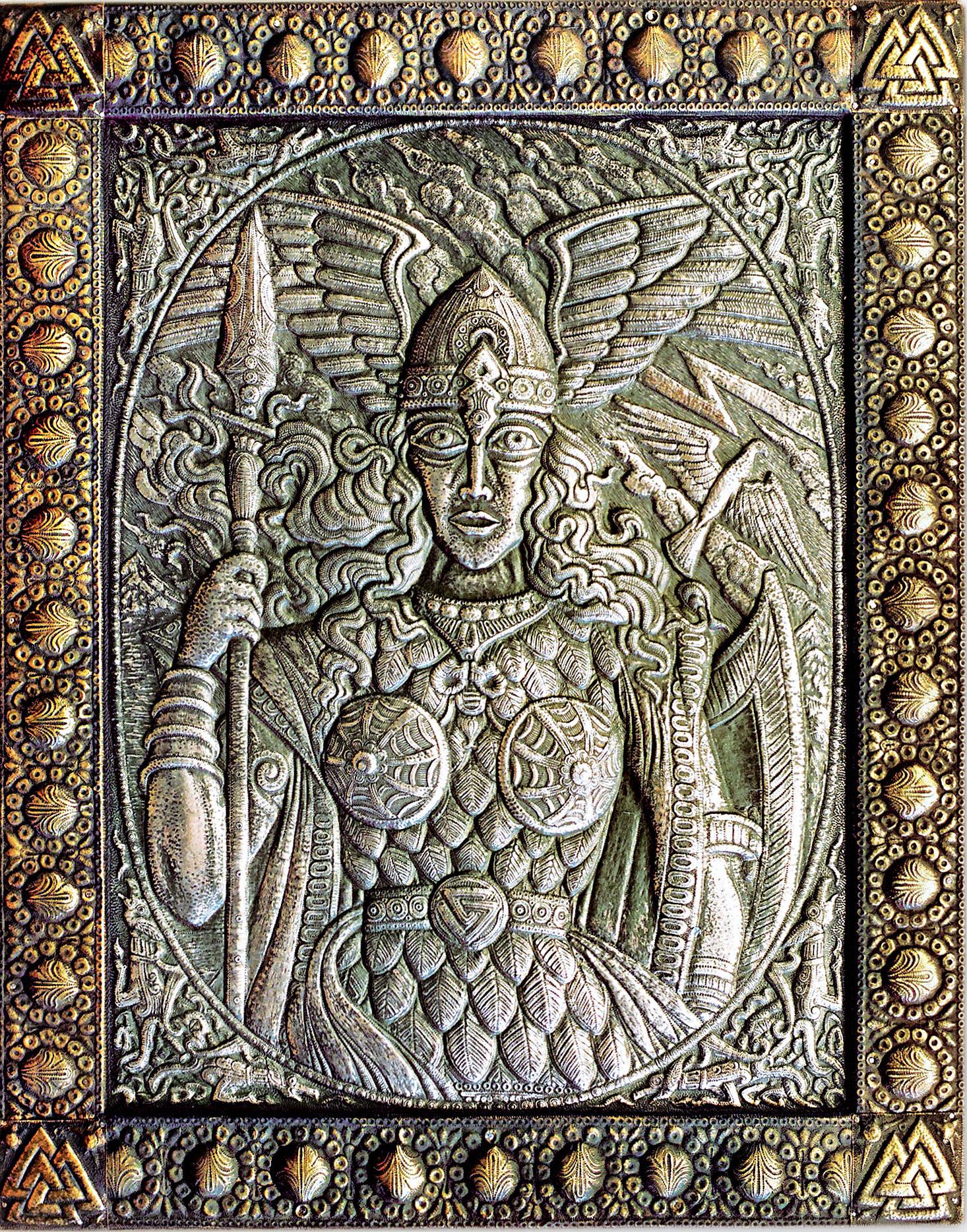"""Валькирия (панно из триптиха """"Великие богини) 1997 г. Медь, латунь; чернение. 90 х 70 см"""