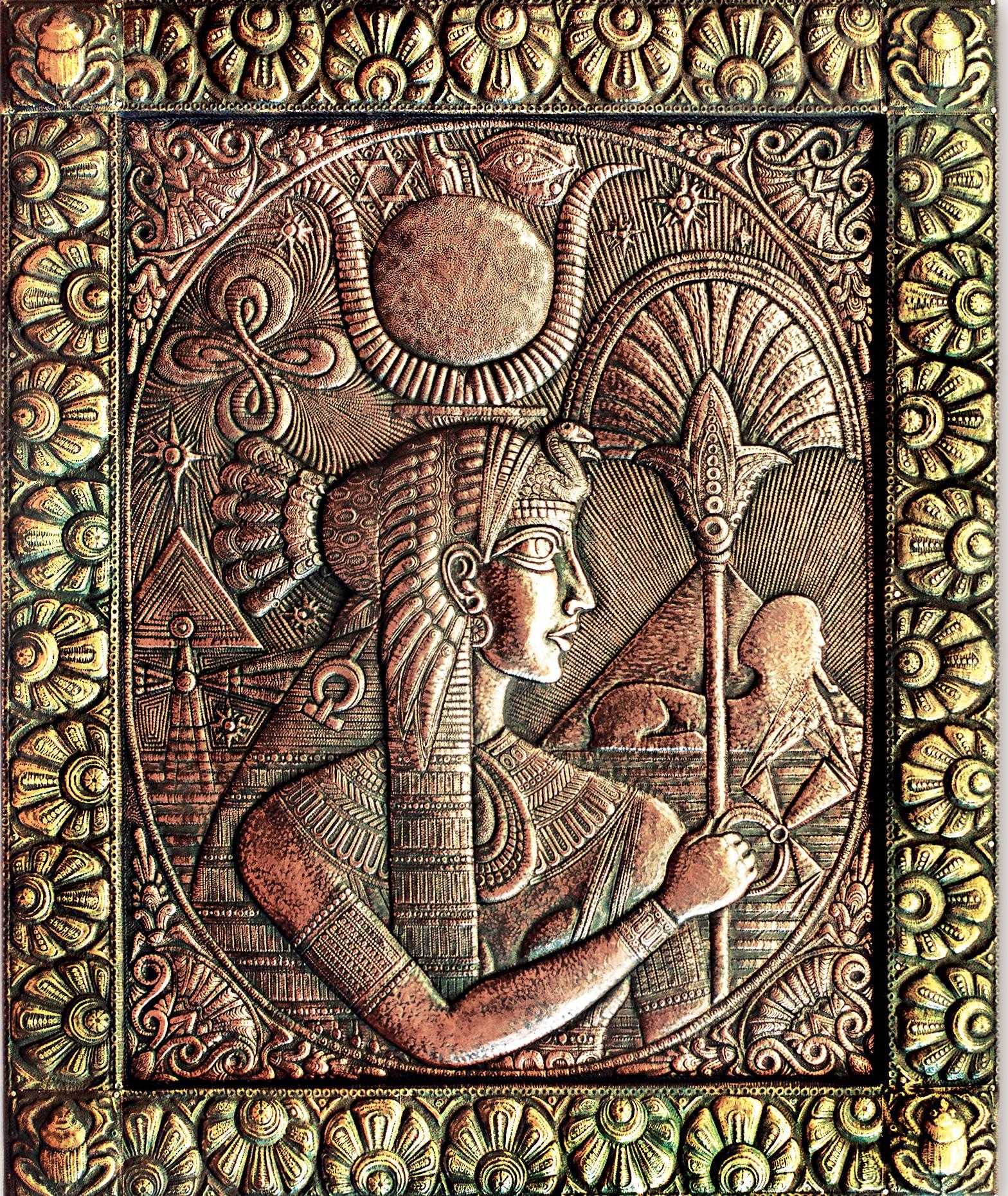 """Изида (панно из триптиха """"Великие богини) 1997 г. Медь, латунь; чернение. 90 х 70 см"""