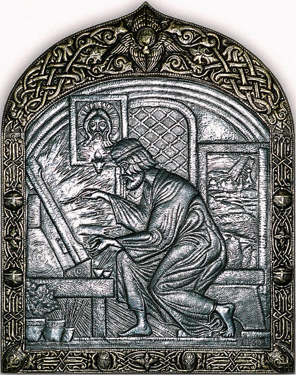 """Андрей Рублев (панно из триптиха """"Свет Троицы"""")  2002 г. Алюминий, латунь; чернение 84 х 65 см"""