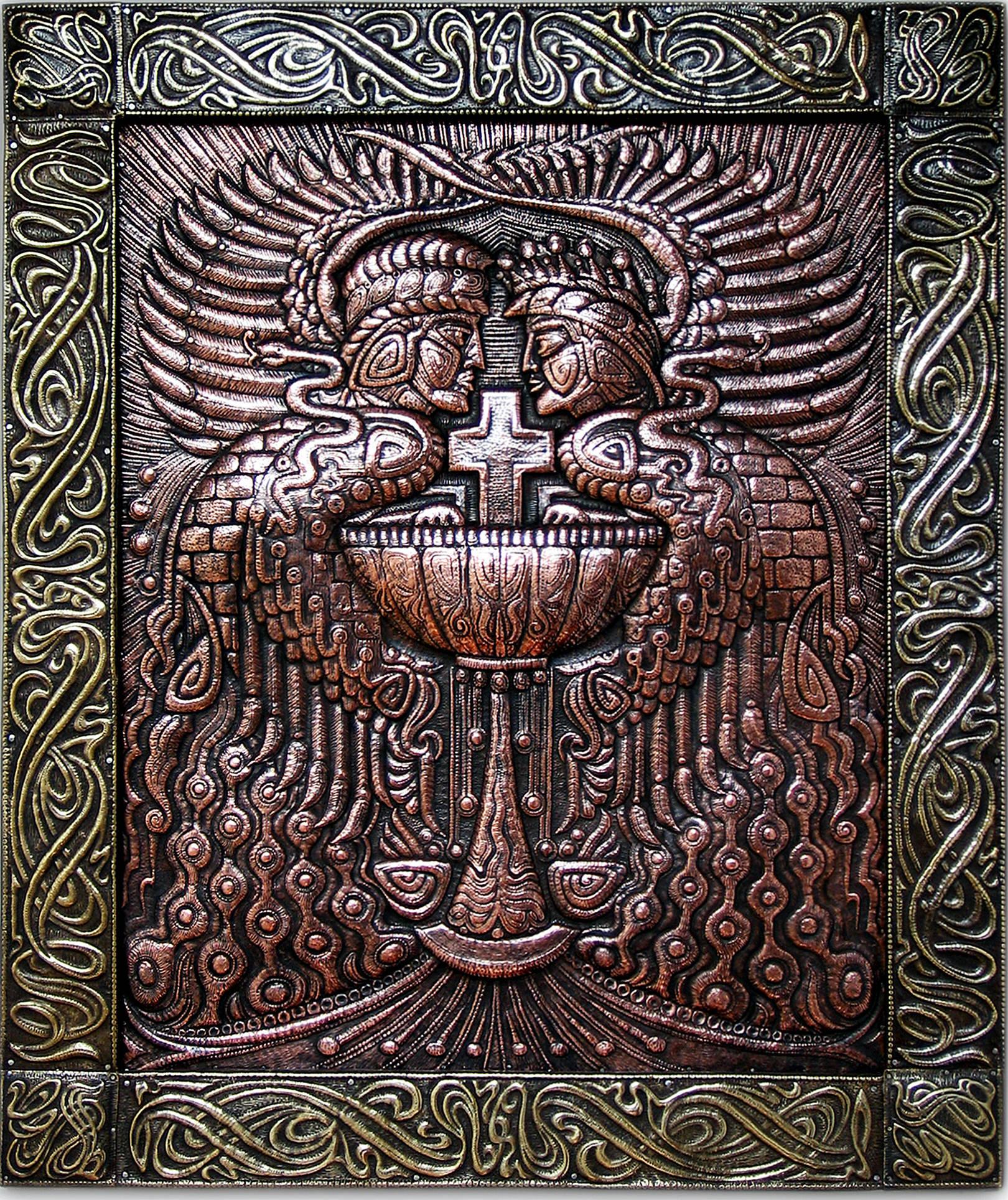 """Стражи святого Грааля (панно из триптиха """"Мистический"""" ) 2004 г. Медь, латунь; чернение 76 х 63 см"""
