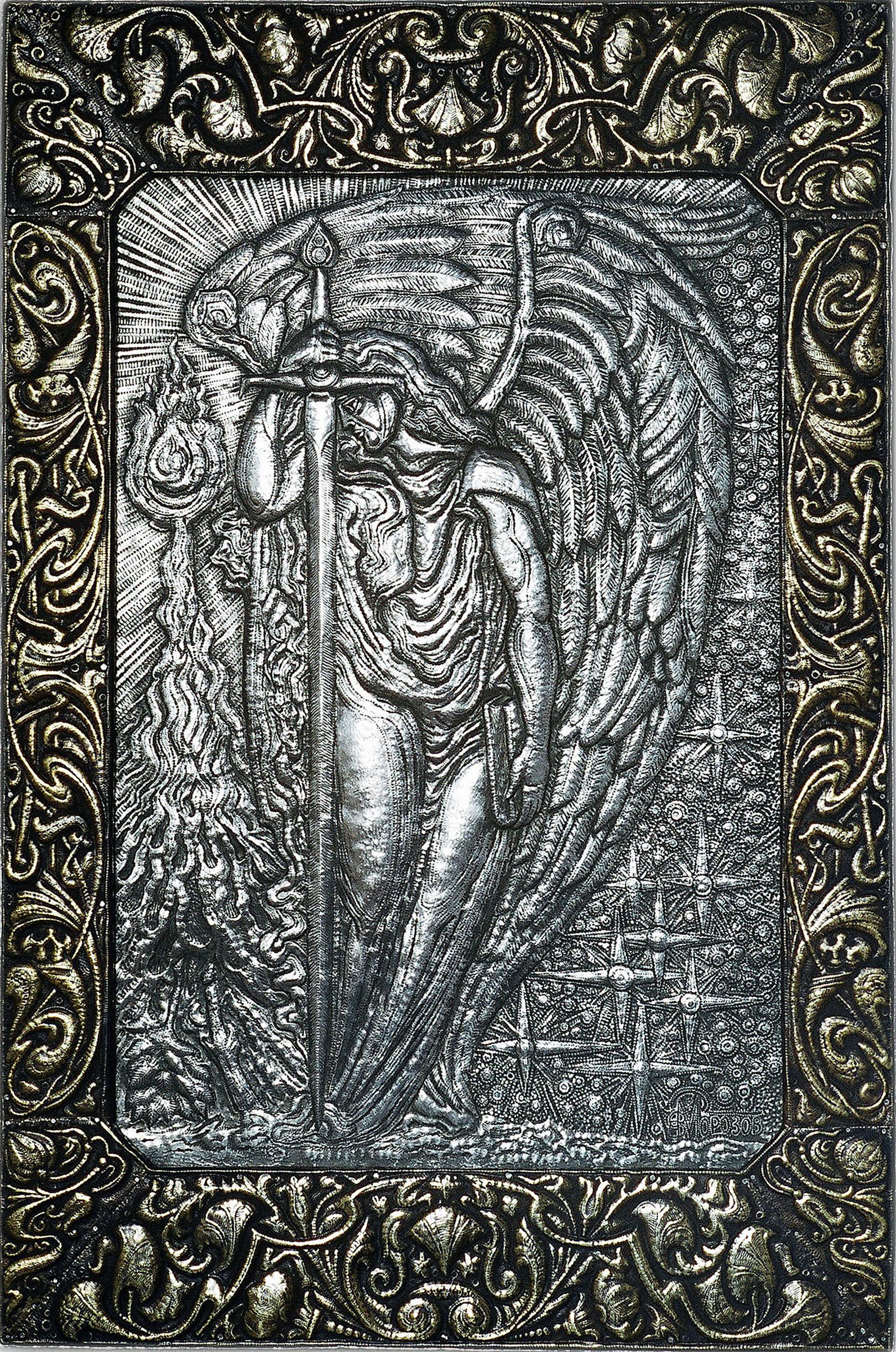 """Ангел Скорби (панно из триптиха """"Модерн"""") 2004 г.  Алюминий, латунь; 87 х 58 см"""