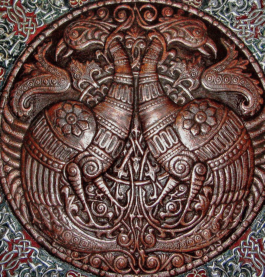 Волшебные птицы (фрагмент панно-рондо) 2008 г. Алюминий, медь, латунь; чернение, холодная эмаль  90 х 90 см