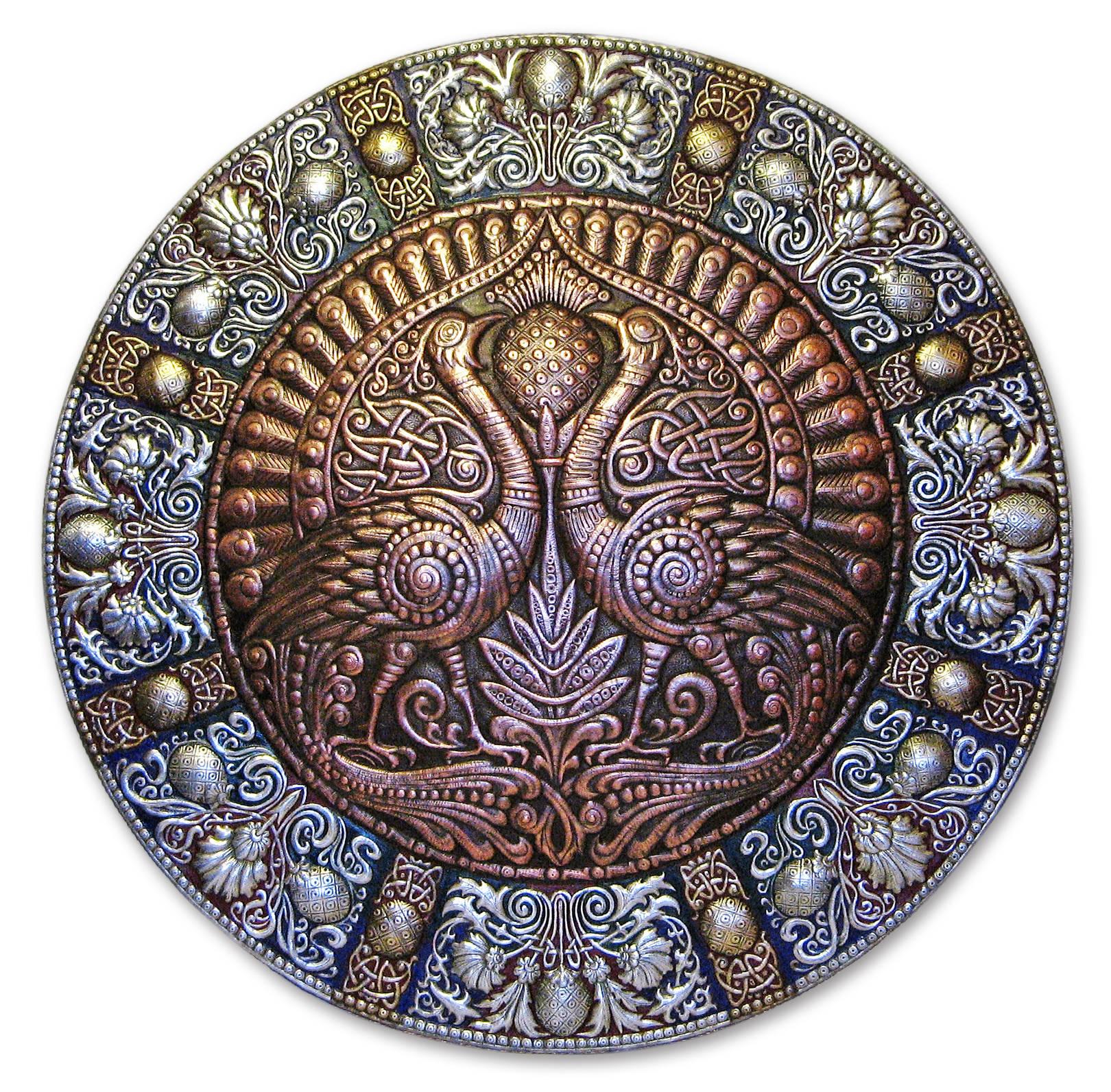 Павлины (панно-рондо) 2008 г. Алюминий, медь, латунь; чернение, холодная эмаль  90 х 90 см