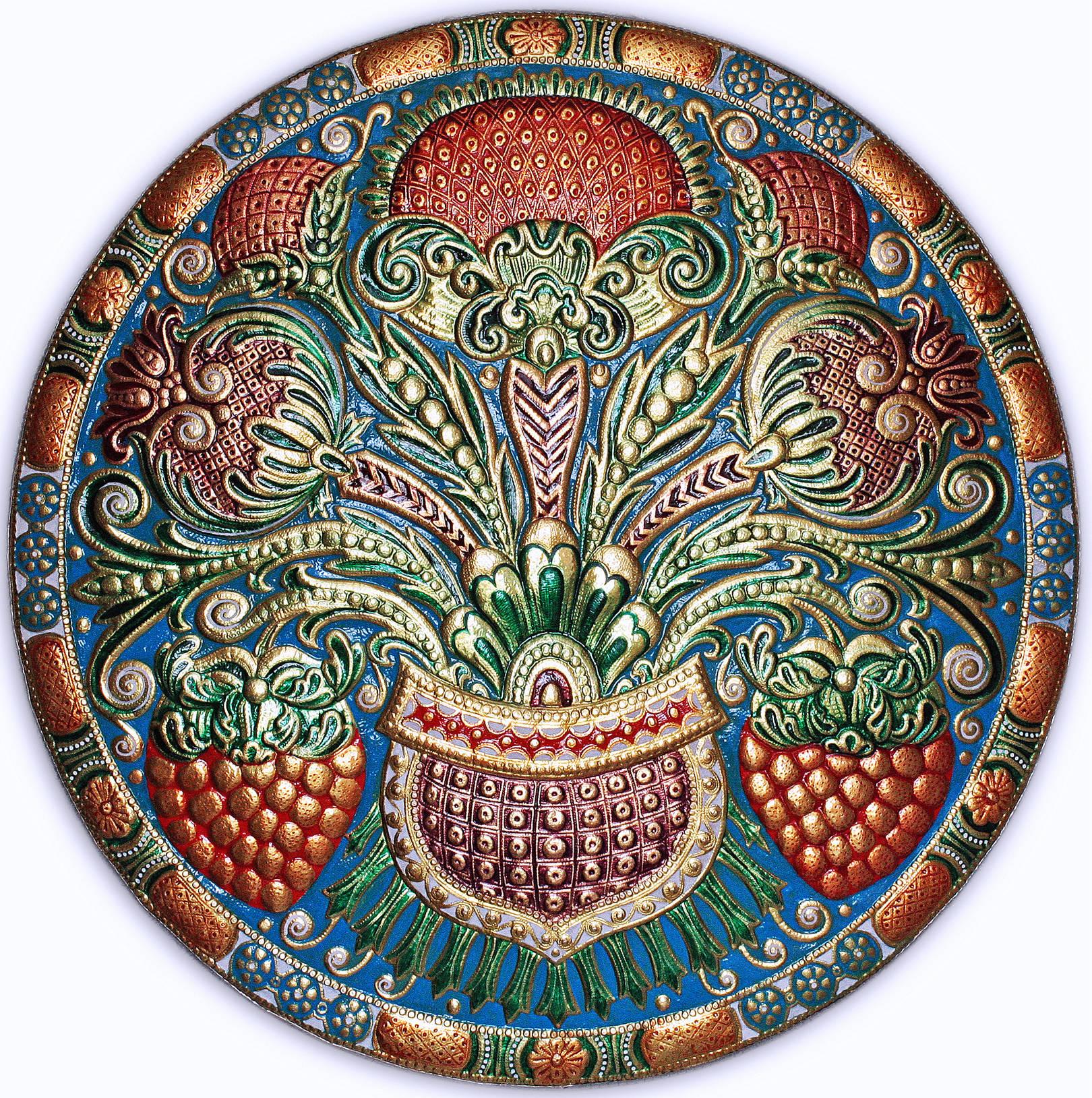 Ягоды и цветы (панно-рондо) 2008 г. Анодированный алюминий; холодная эмаль 70 х 70 см