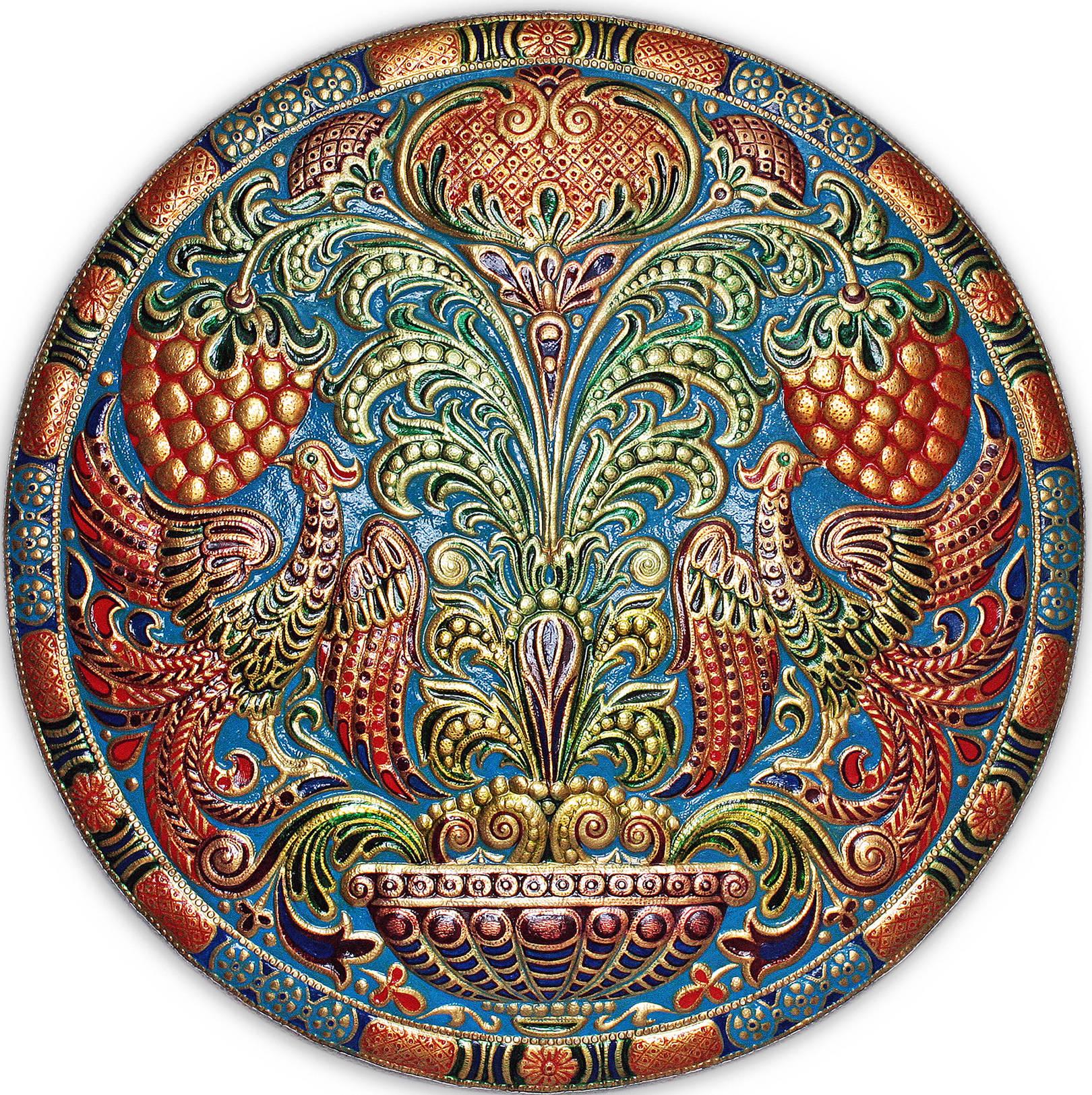 Ягоды,цветы и птицы (панно-рондо) 2008 г. Анодированный алюминий; холодная эмаль 70 х 70 см