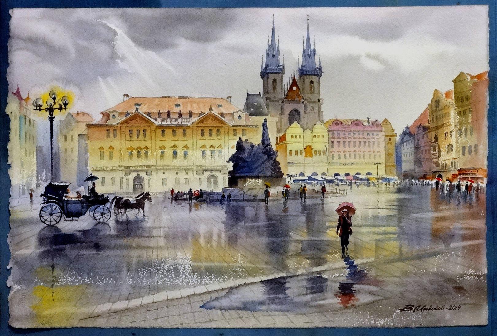 ,,Воспоминания о Праге,,акв.бум.Artistico+Fabriano 300 гр.38*57 см.2014 г.