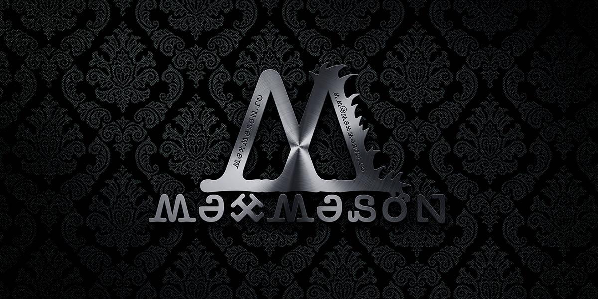 "Логотип ""MaxMason"" в металле. Софт: Adobe Photoshop CC 2014"