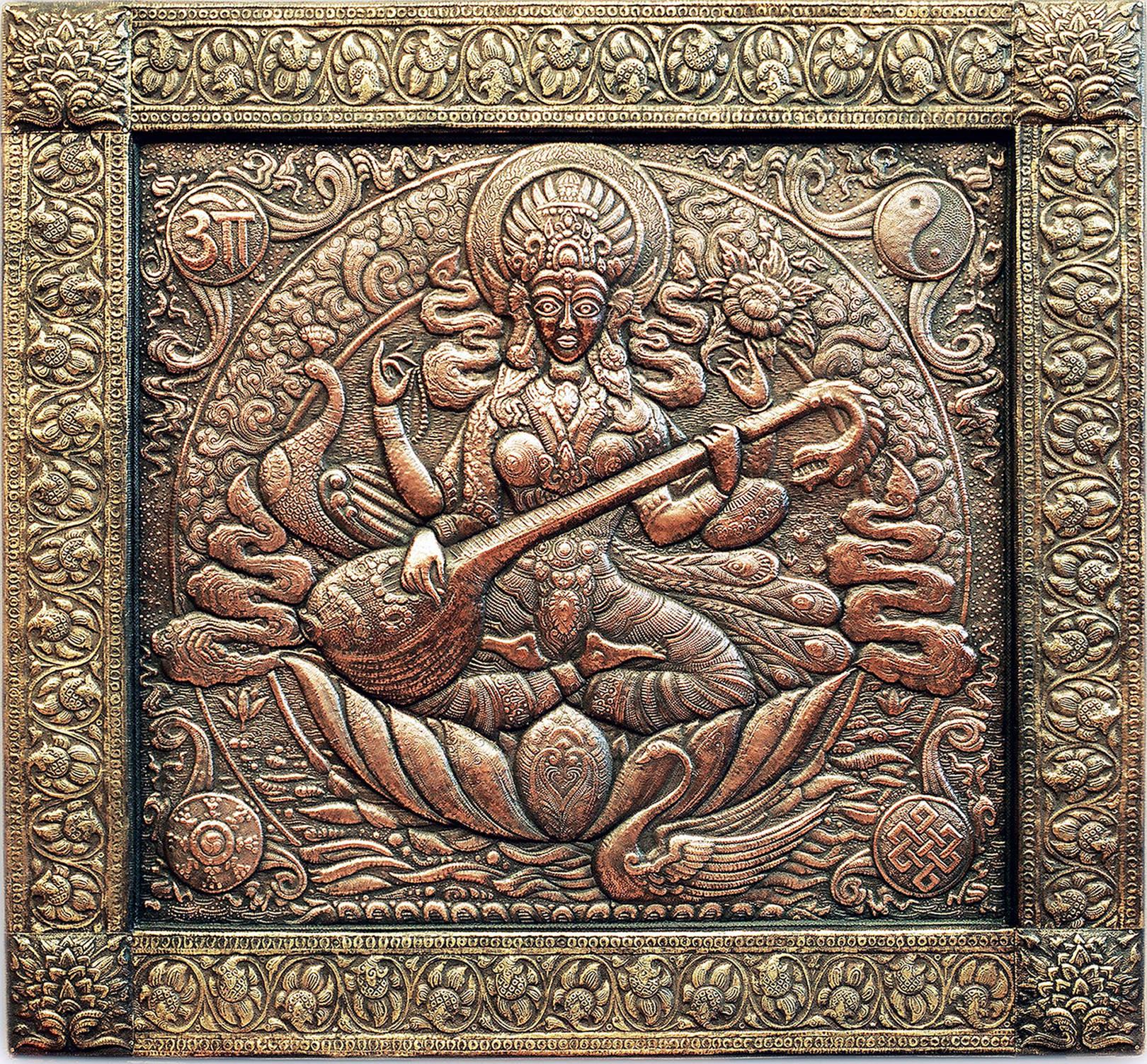 Сарасвати.Индийская богиня (панно) 1997                                                              Медь, латунь; чернение. 81х88 см
