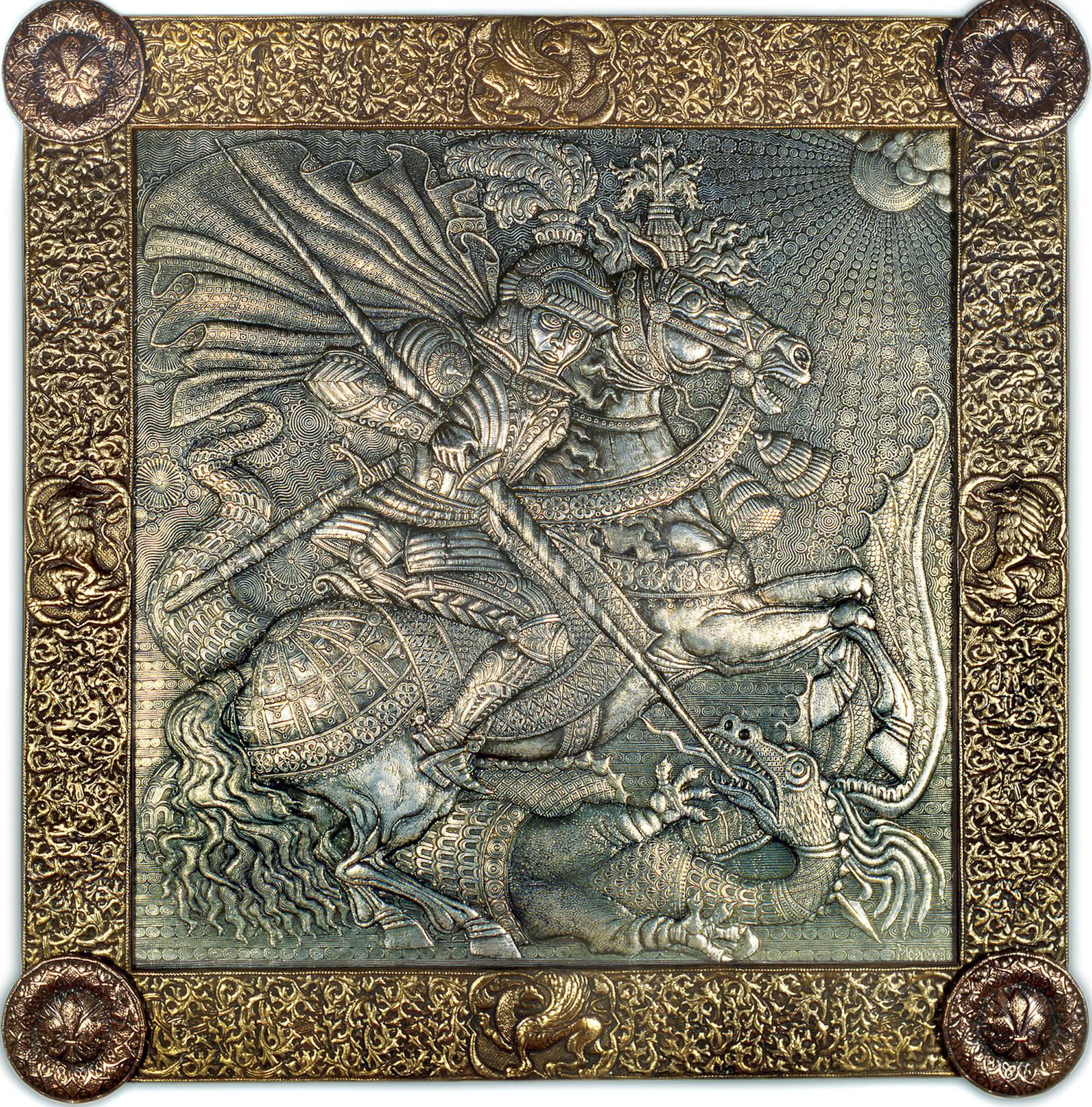 Георгий Победоносец (панно) 1993 г. Алюминий, латунь, медь; чернение 127 х127 см