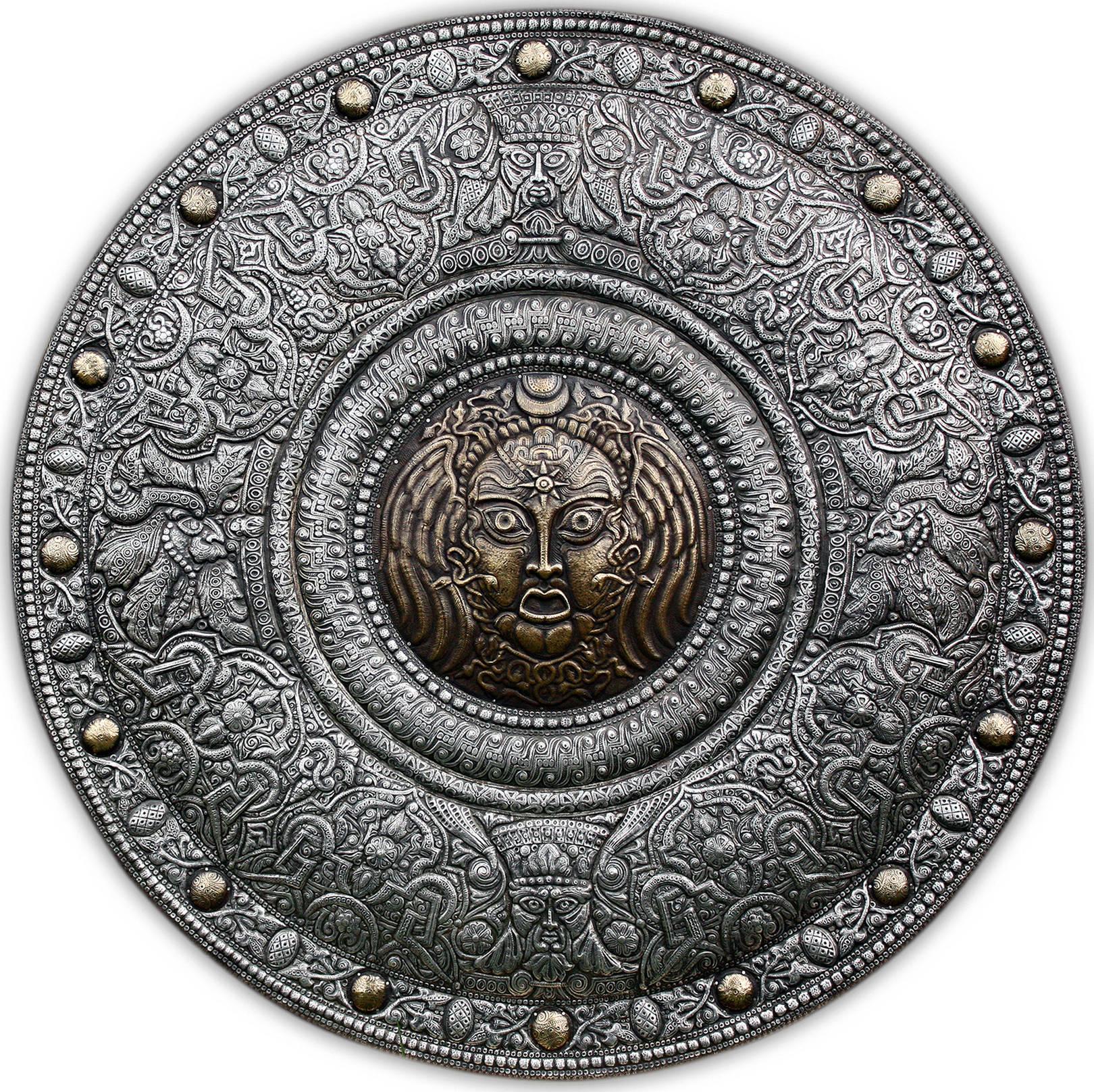 Ренессанс. Медуза Горгона (декоративный щит – панно)  2010 г.                                                             Алюминий, латунь; чернение  93 х93 см