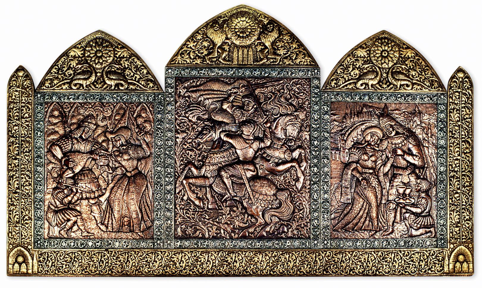 Средневековая баллада (триптих) 1991 г. Медь, латунь, алюминий; чернение. 121х210 см