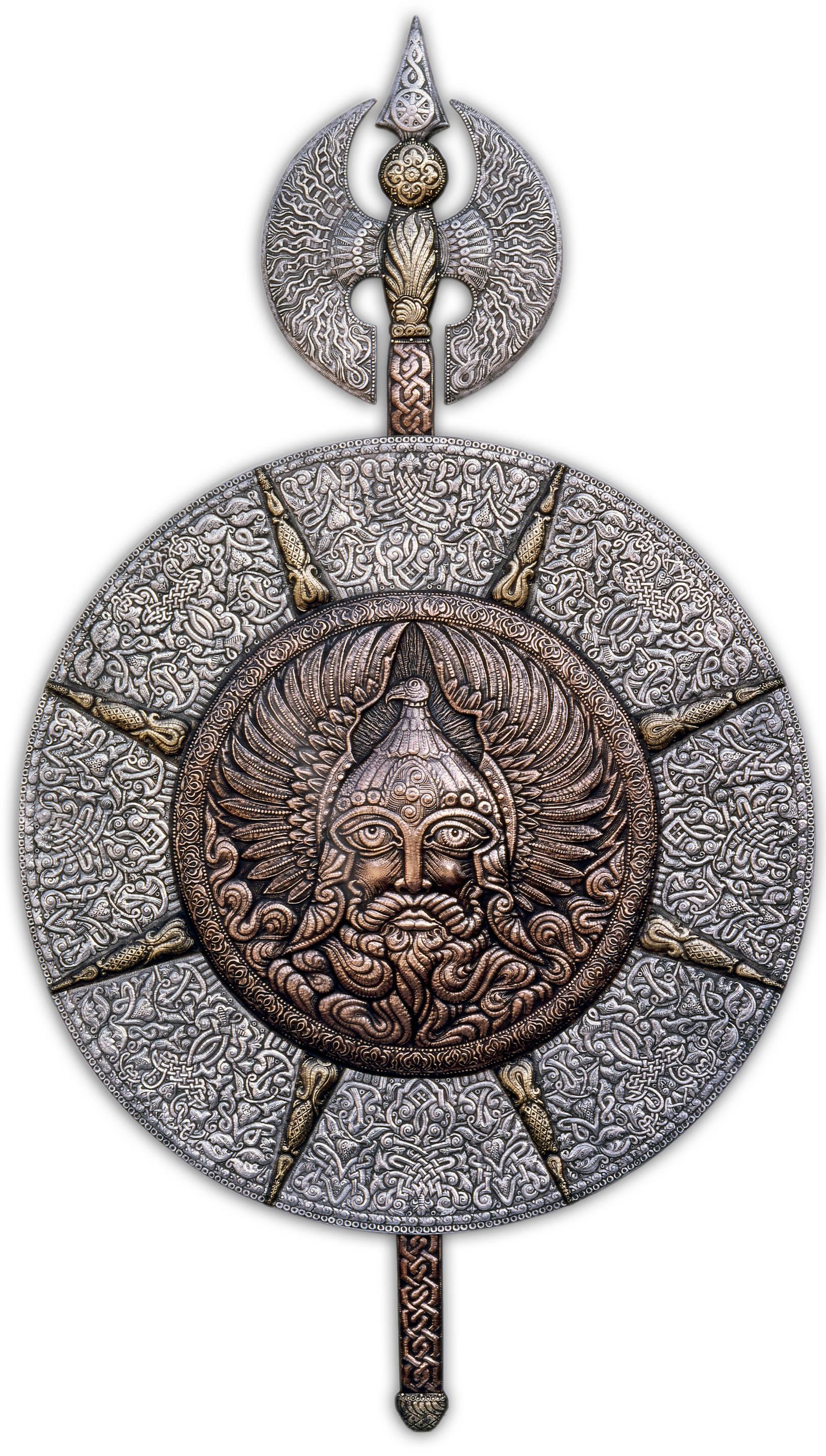 Перун (декоративный щит с секирой)  2000 г.  Алюминий, медь, латунь; чернение  172  х 97 см
