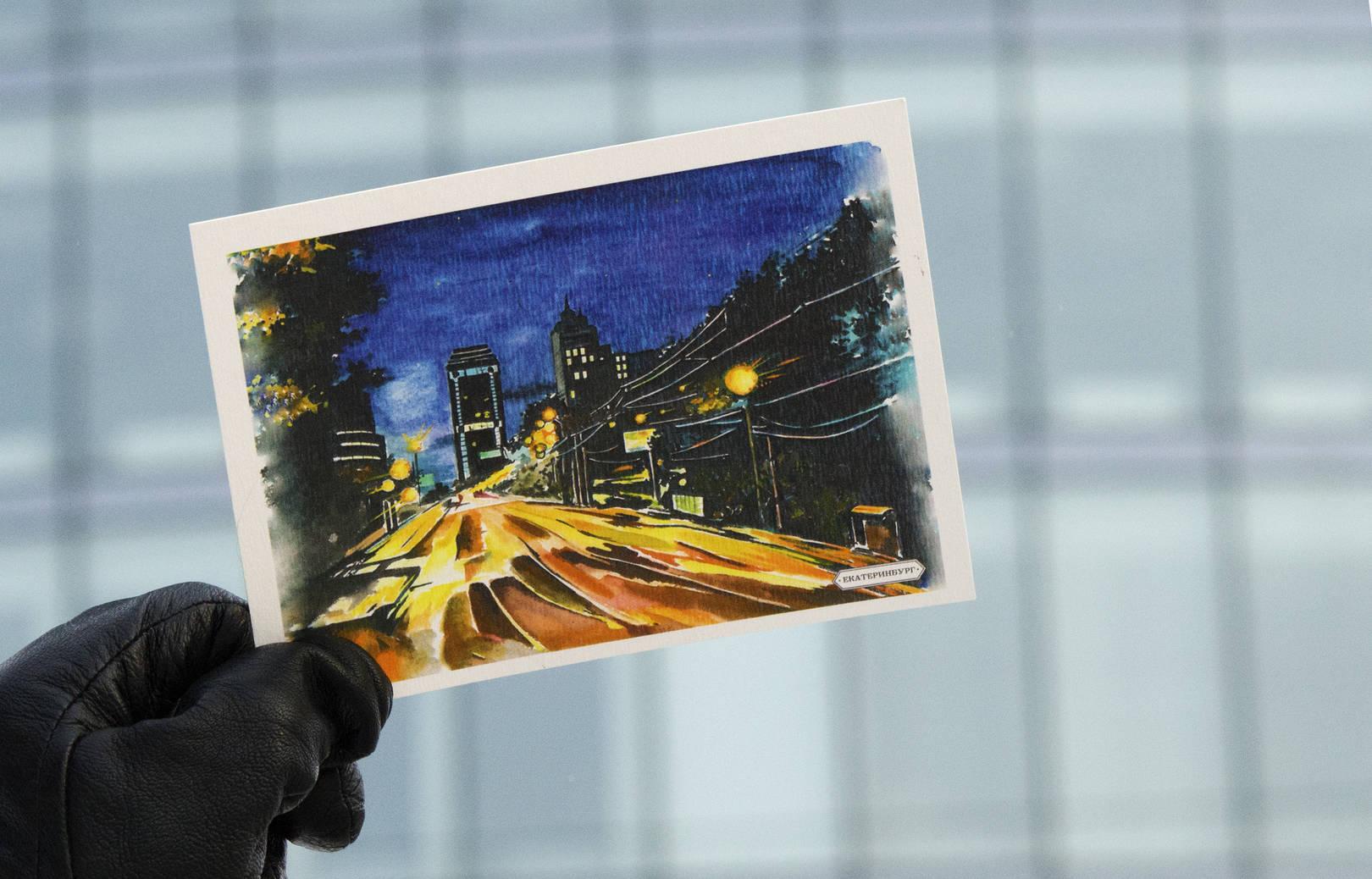 Панорама ночного города  Екатеринбург, улица Малышева  Автор: Антропова М.А.  Panorama of night city  Ekaterinburg, Malysheva street  Artist: Antropova M.A.