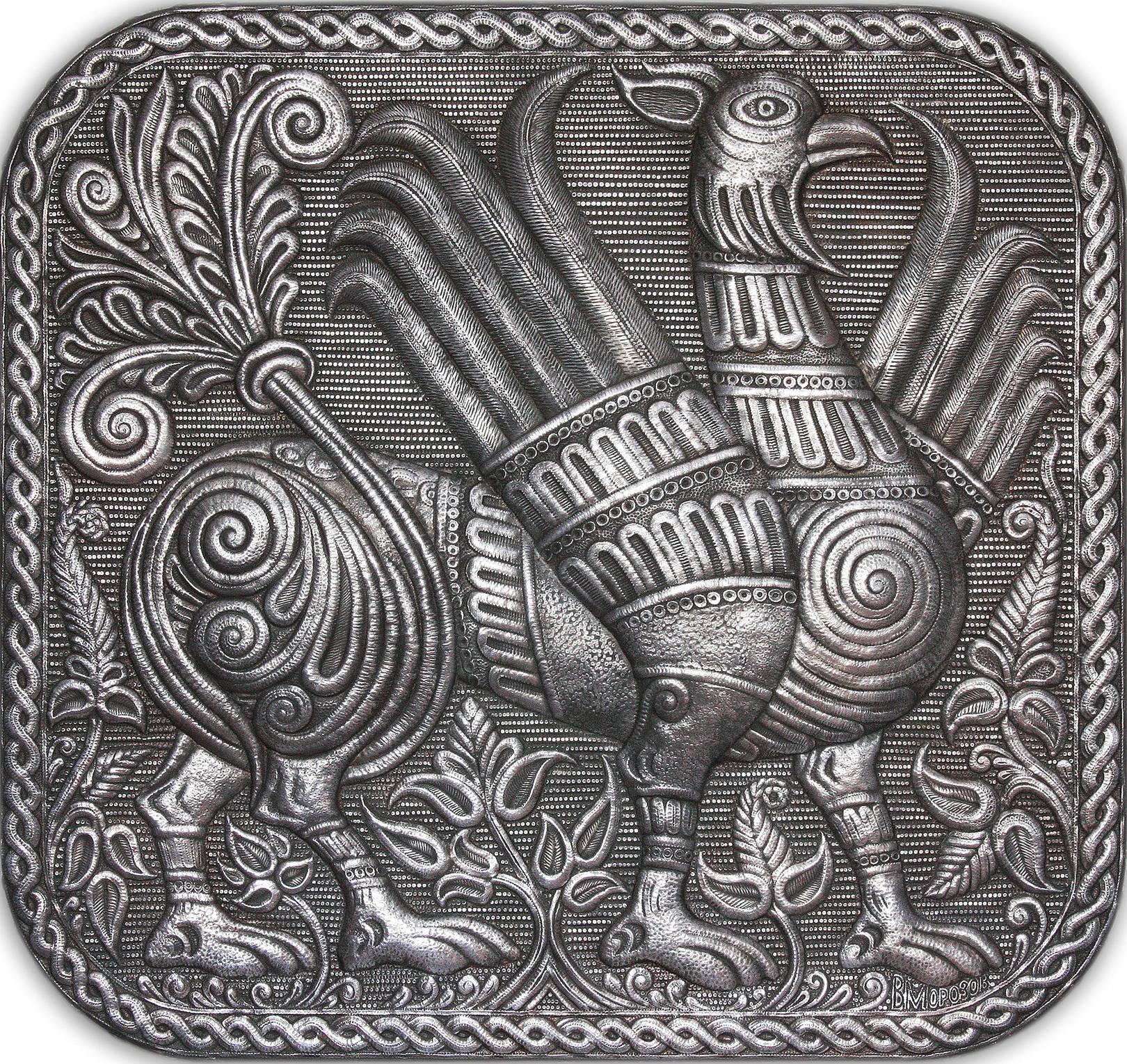 """Грифон (панно из серии """"Владимиро - Суздальские древности) 2006 г. Алюминий; чернение 58 х 61 см"""