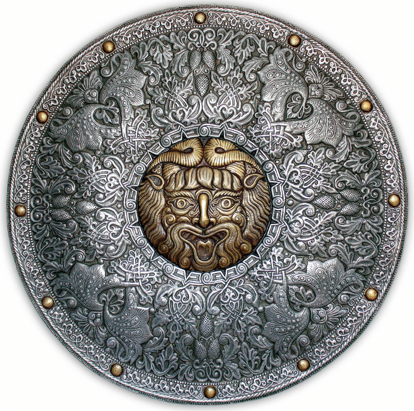 Велес (декоративный щит) 2009 г. Алюминий, латунь; чернение  90 х90 см
