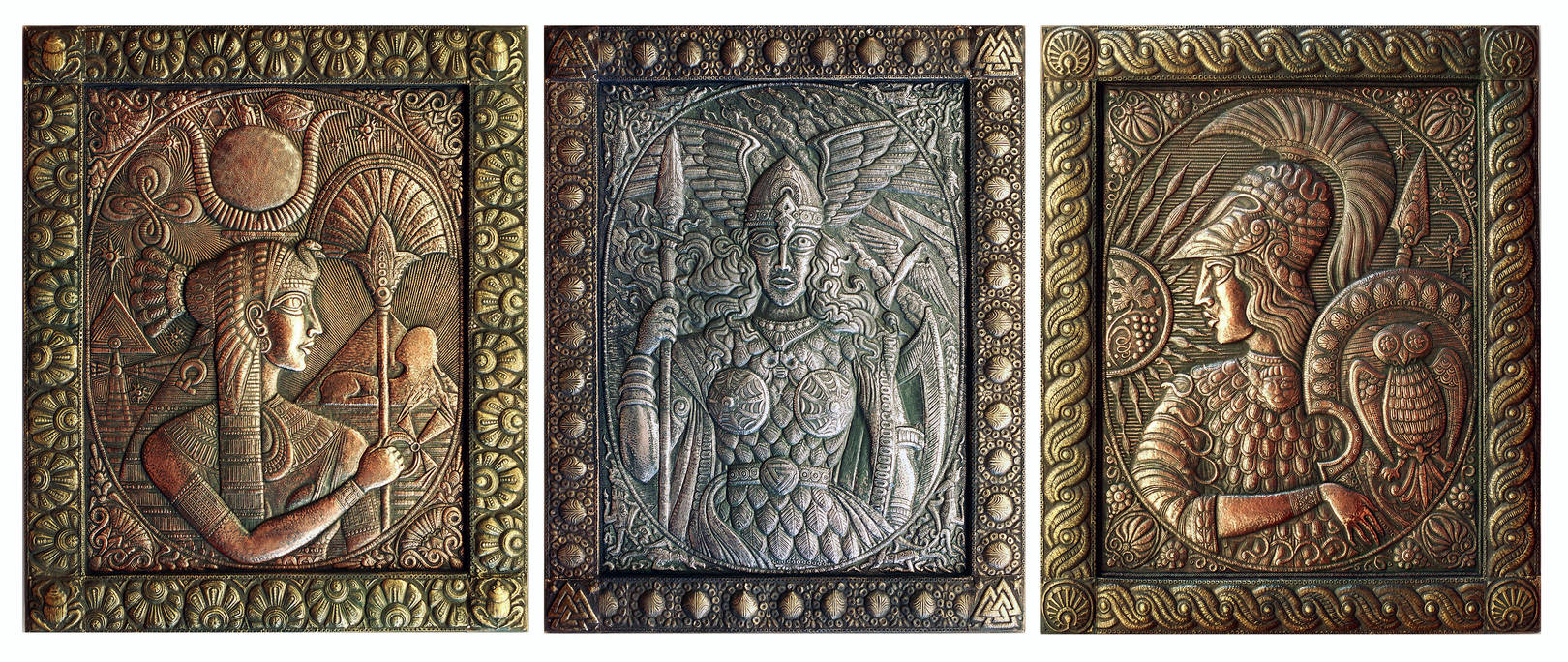 Великие богини (триптих) 1997 г. Медь, алюминий, латунь; чернение. Состоит из панно размерами 90 х70 см: Изида, Валькирия, Афина