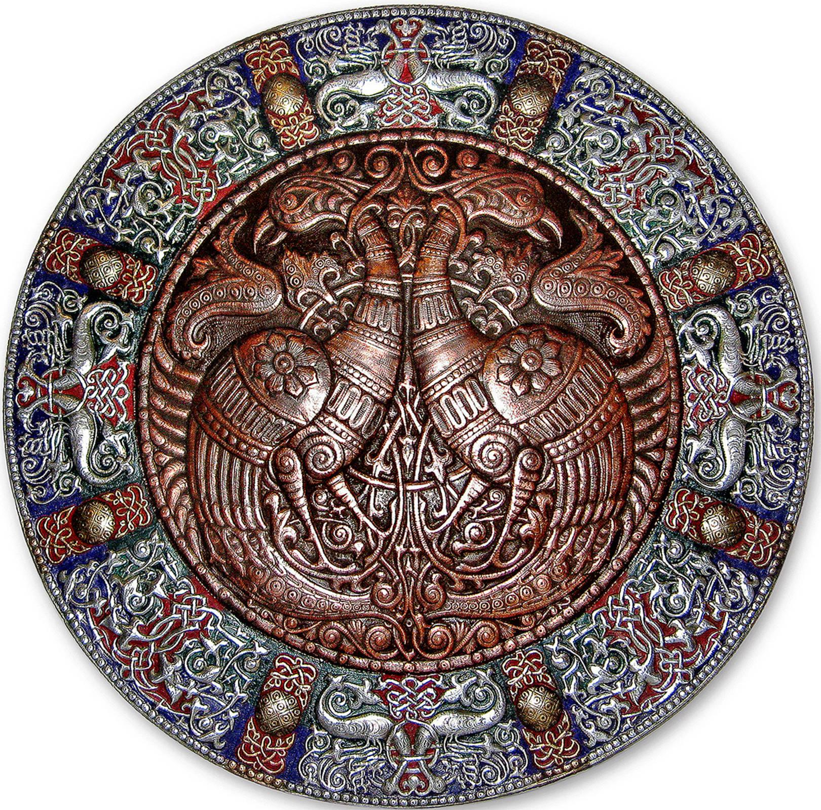 Волшебные птицы (панно-рондо) 2008 г.                                                                        Алюминий, медь, латунь;                                                                                                 чернение, холодная эмаль  90 х90 см