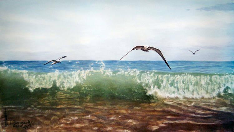 WATERCOLOUR BY SERGII GRYGORIEV. SEA VIEW