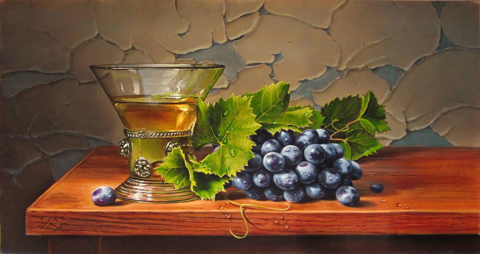 Натюрморт с виноградом, кожа, масло,26х49