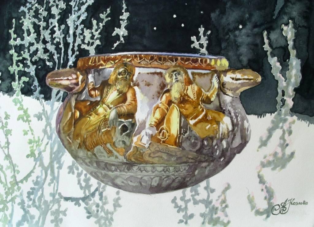 акварель, антикварная скифская  ваза, степь, полынь, ночь, звезды