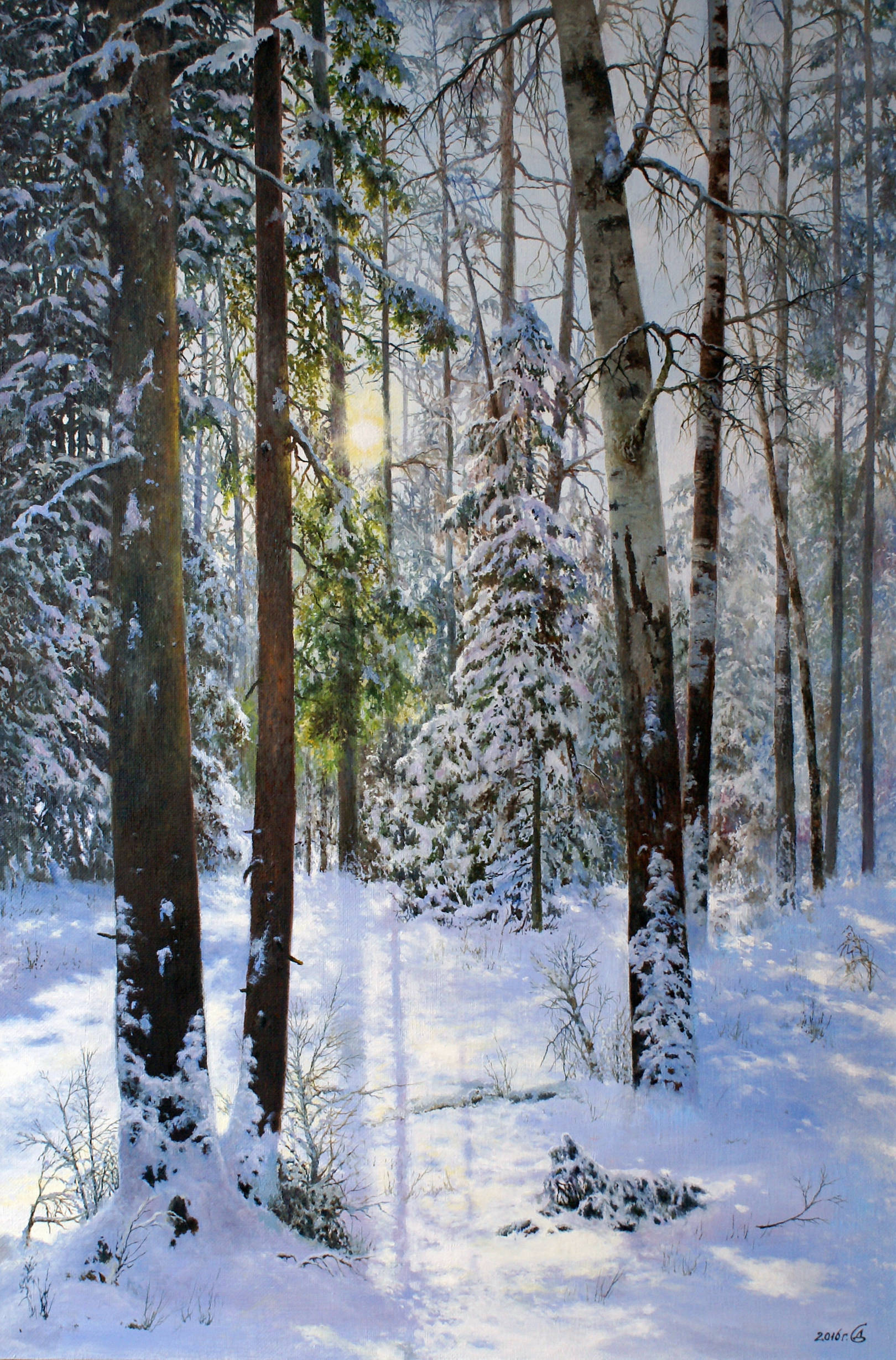"""""""Утро в зимнем лесу"""" - х/м, 90х60"""
