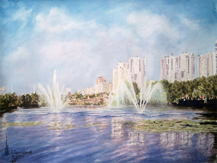 WATERCOLOUR BY SERGII GRYGORIEV. CITY LANDSCAPE
