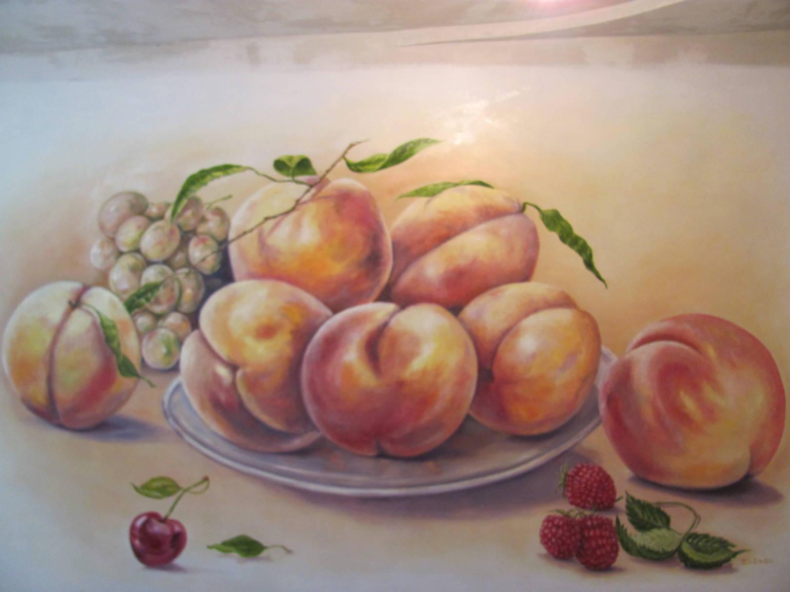 Роспись стены в обычной квартире(Персики),г.Кривой Рог