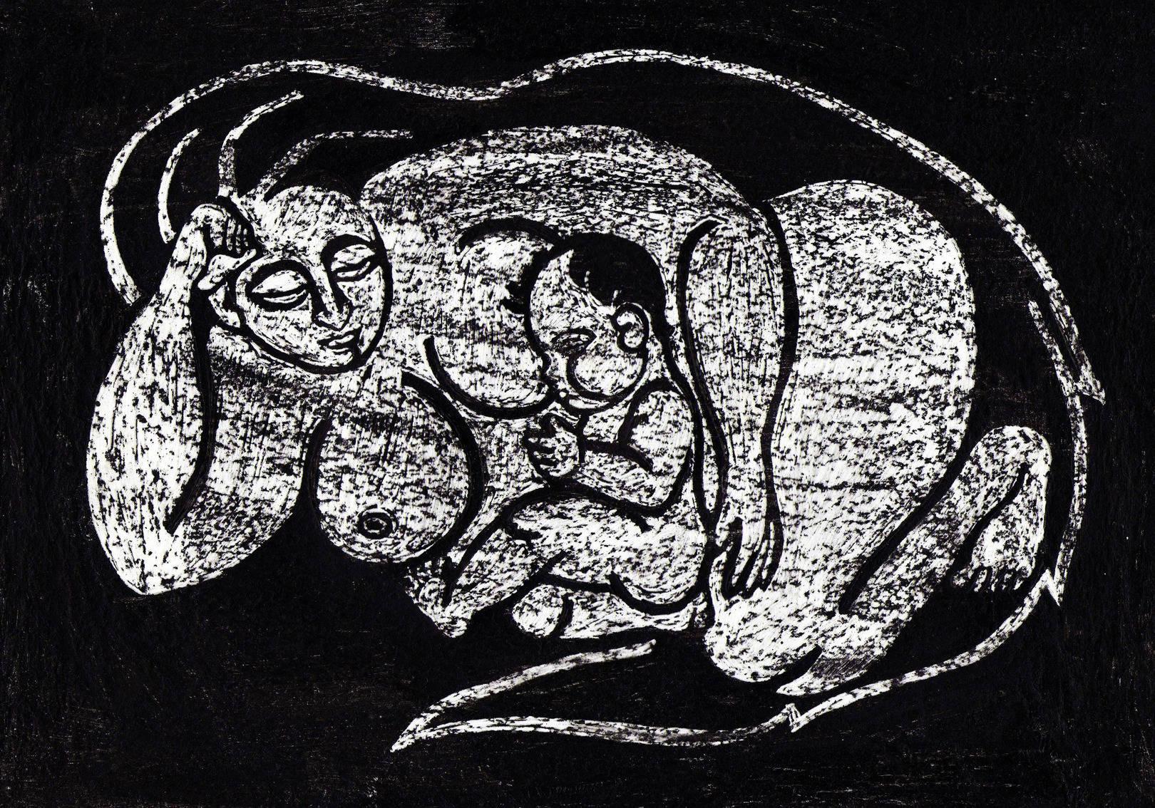 Материнство серия графических работ