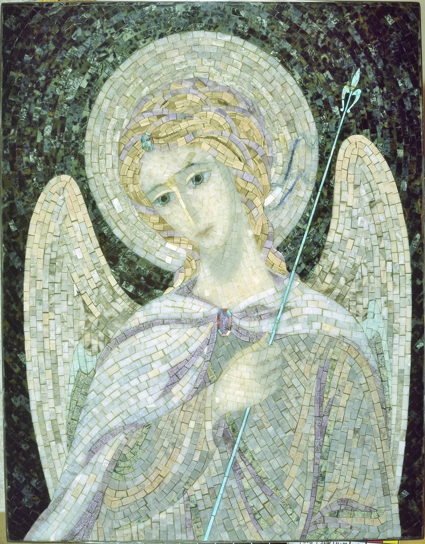 """Ангел"" римская мозаика: серпентинит, серафинит, бирюза, беломорит, оникс, мрамор, лепидолит, лазурит."