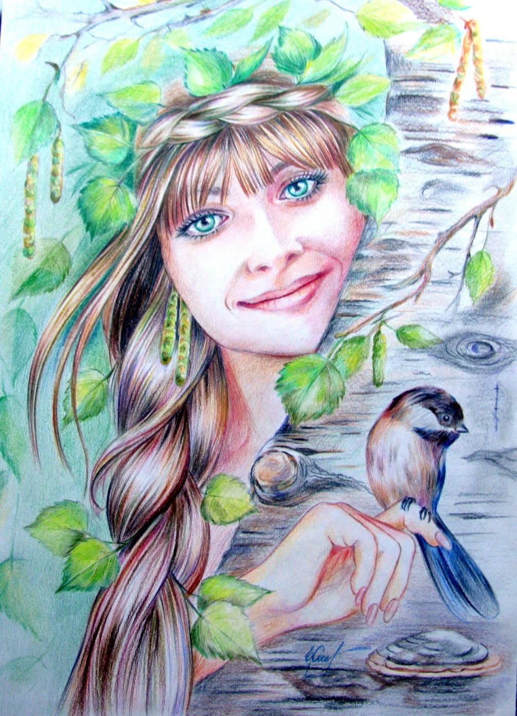 Девушка Весна, техника смешанная (пастель, акв. карандаши)
