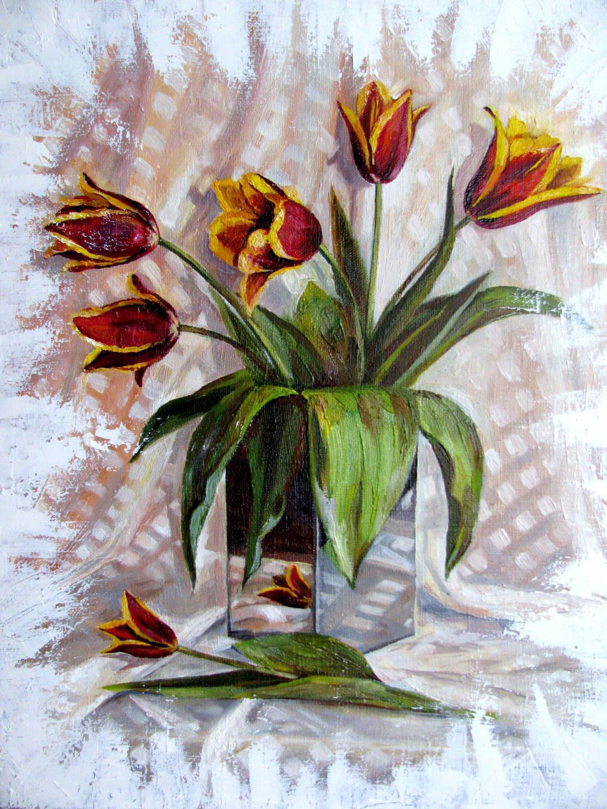 Тюльпаны, х/м