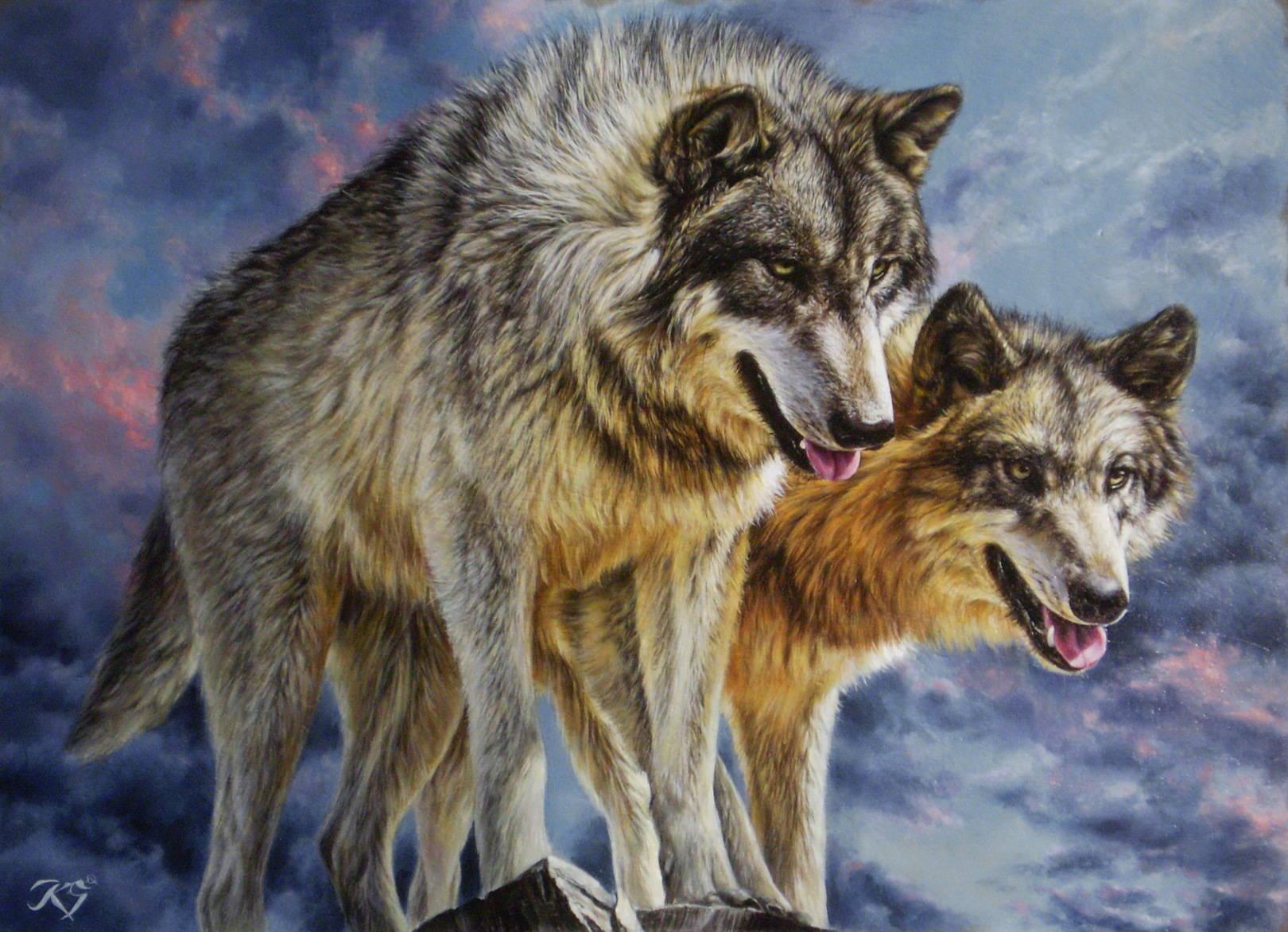 Волки кожа, масло, 50х70