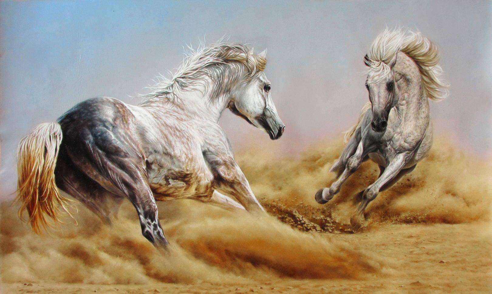 Лошади кожа, масло, 42х69