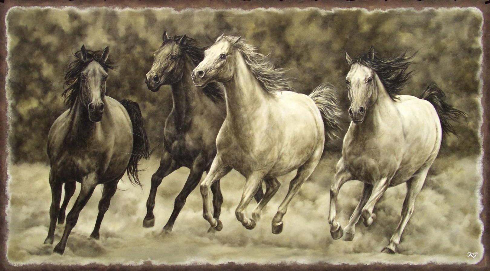 Лошади кожа, масло, 78х140