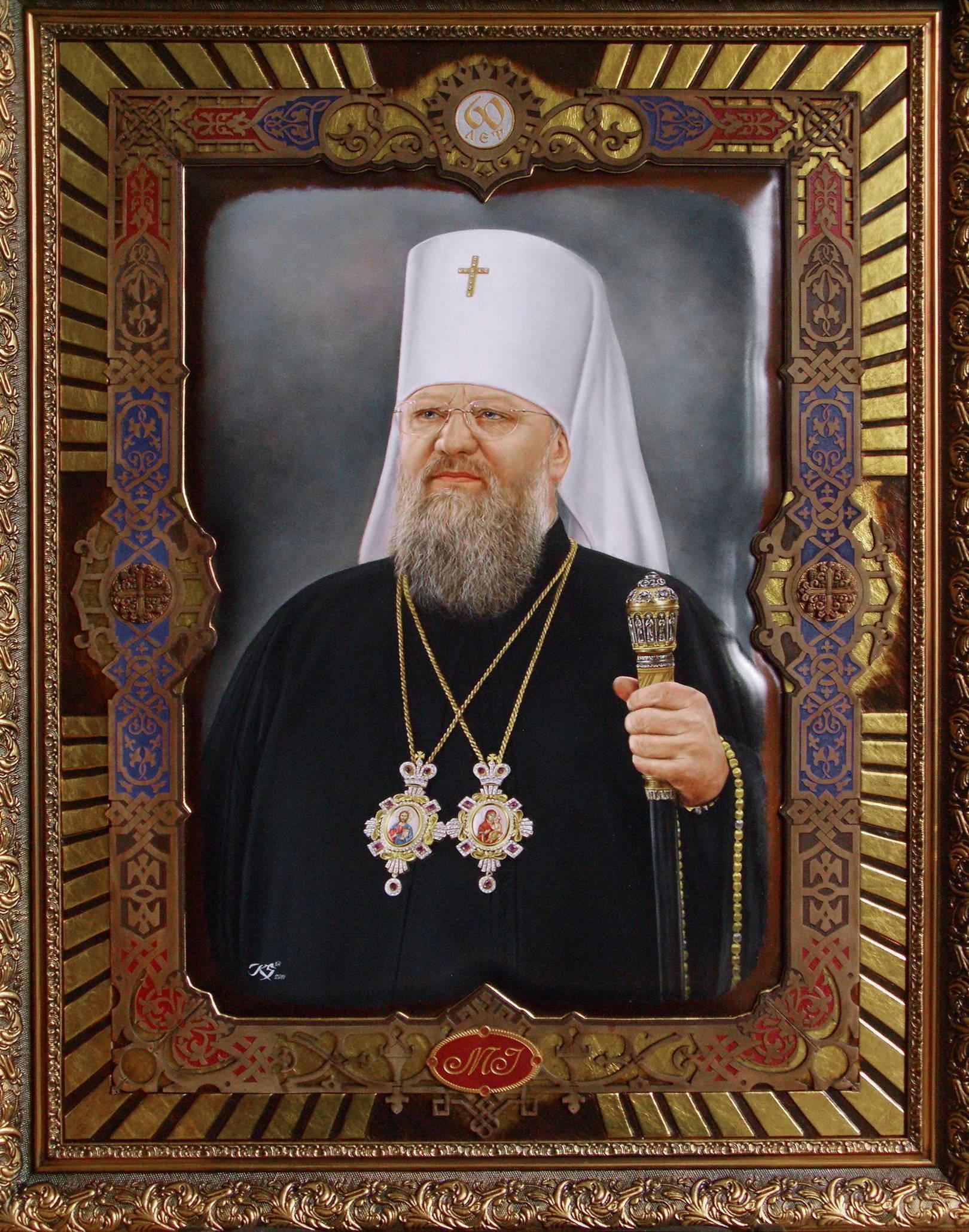 Митрополит Донецкий и Мариупольский Илларион кожа, масло, 70х50