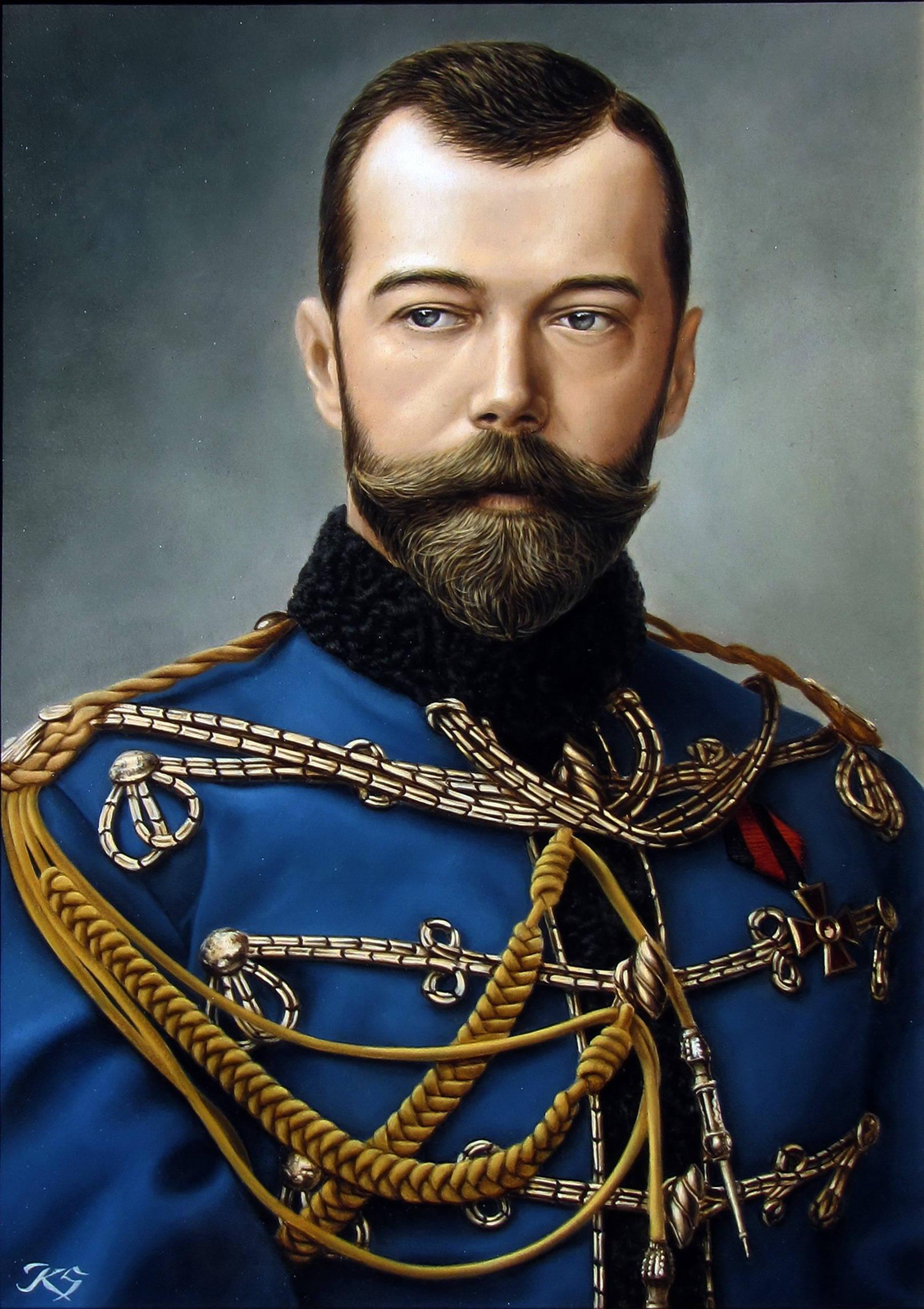 Николай II  кожа, масло, 50х36