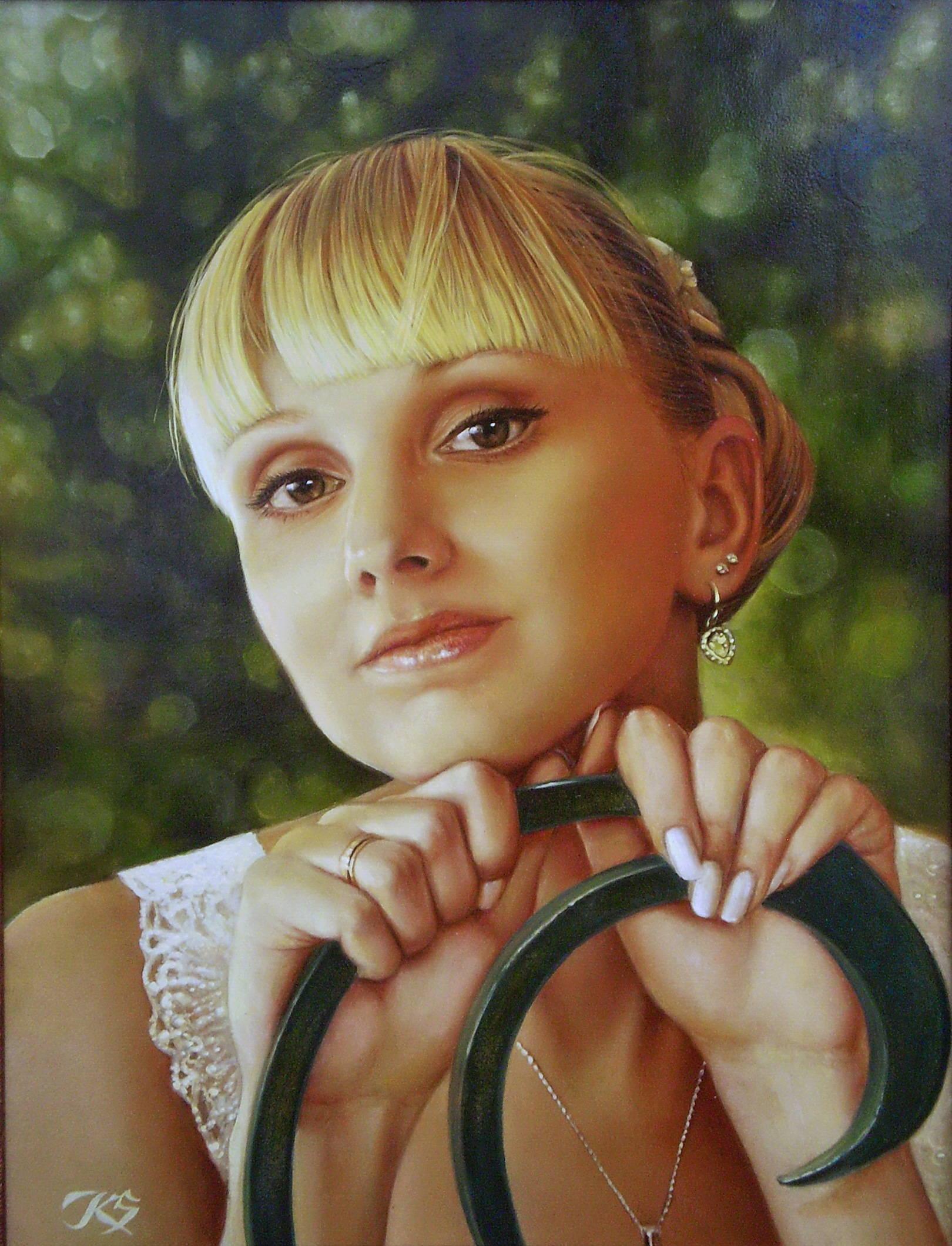 Портрет невесты кожа, масло, 50х35