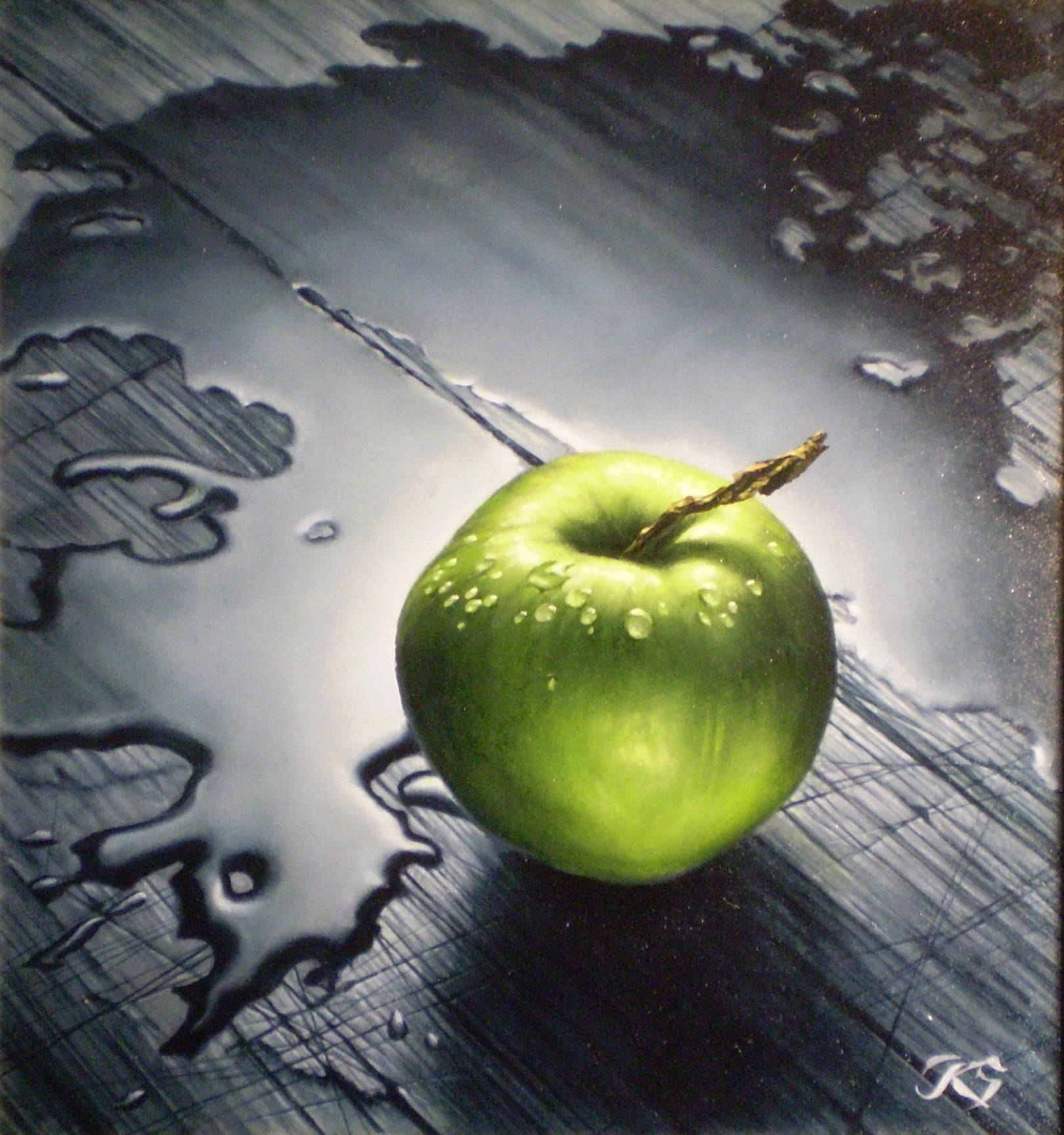 Яблоко кожа, масло, 25х24