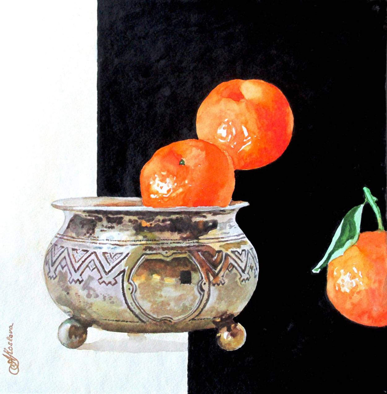 МАНДАРИНЫ акварель, изобразительное искусство