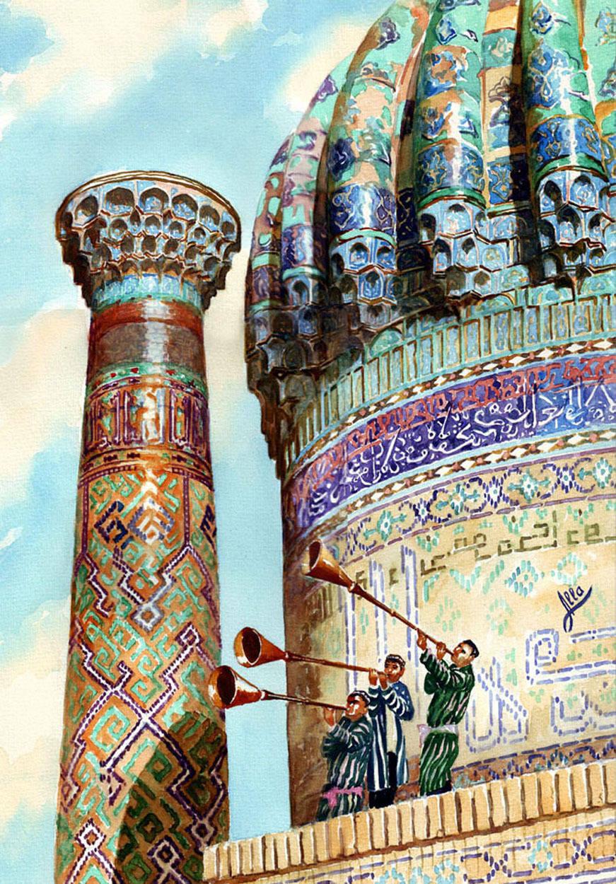 Праздник в Самарканде. акварель Изобразительное искусство