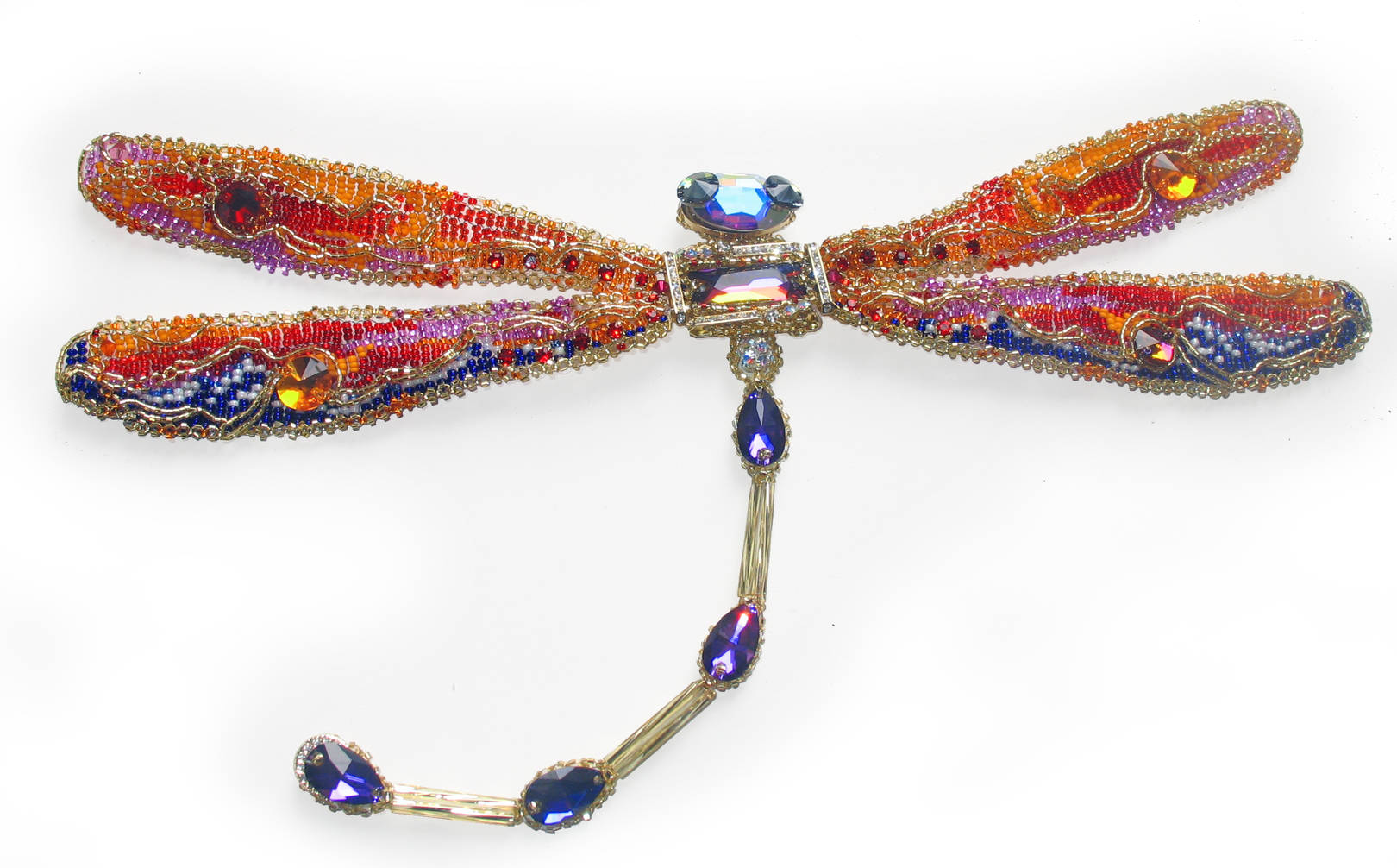 Dragonfly.  The brooch. Size: 310×150×20 mm
