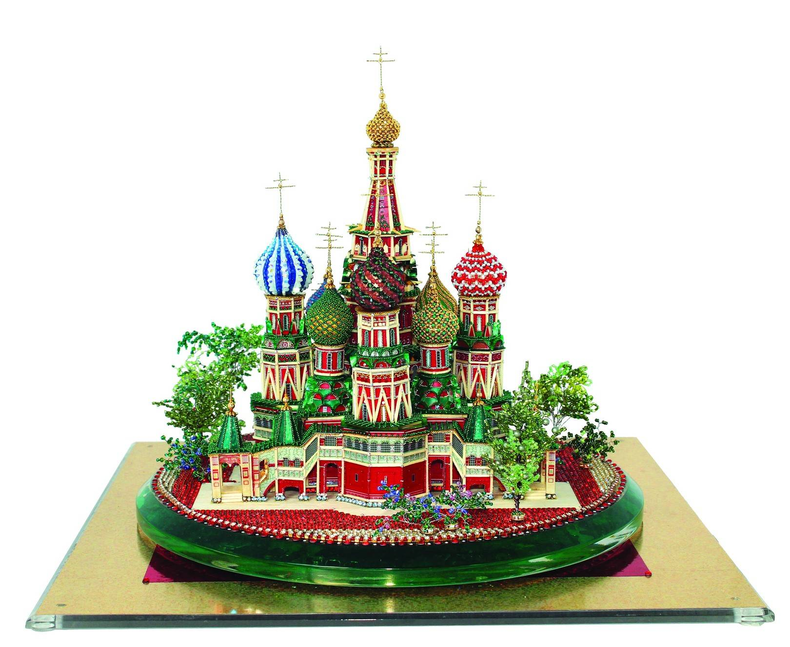 Zhamoydo Anatoly, Bulba Natalya St. Basil's Cathedral, 2012   Matches Beads: Japanese beads (Toho company) – 5 colours,  Czech beads (Preciosa Ornela company) - 19 colours  (2 types – gilded),  microbeads of 9 colours,  Japanese beads of 1 colour,  Swarovski beads of 7 colours,  Adhesive Swarovski beads of 3 types, Pastes in metal of 3 colours,  Czech rondelles. Metal beads and caps of Tierra Cast company (the USA),   Wire of silver and golden colour (thickness 0,3 mm, 0,2 mm, 0,1 mm),  Adhesive film 4 colours,  Computer graphics,  tinsel,  glue of 4 types,  (PVA adhesive, epoxy adhesive, aquarium adhesive, Draconfly),  plasticine,  acrylic resin.